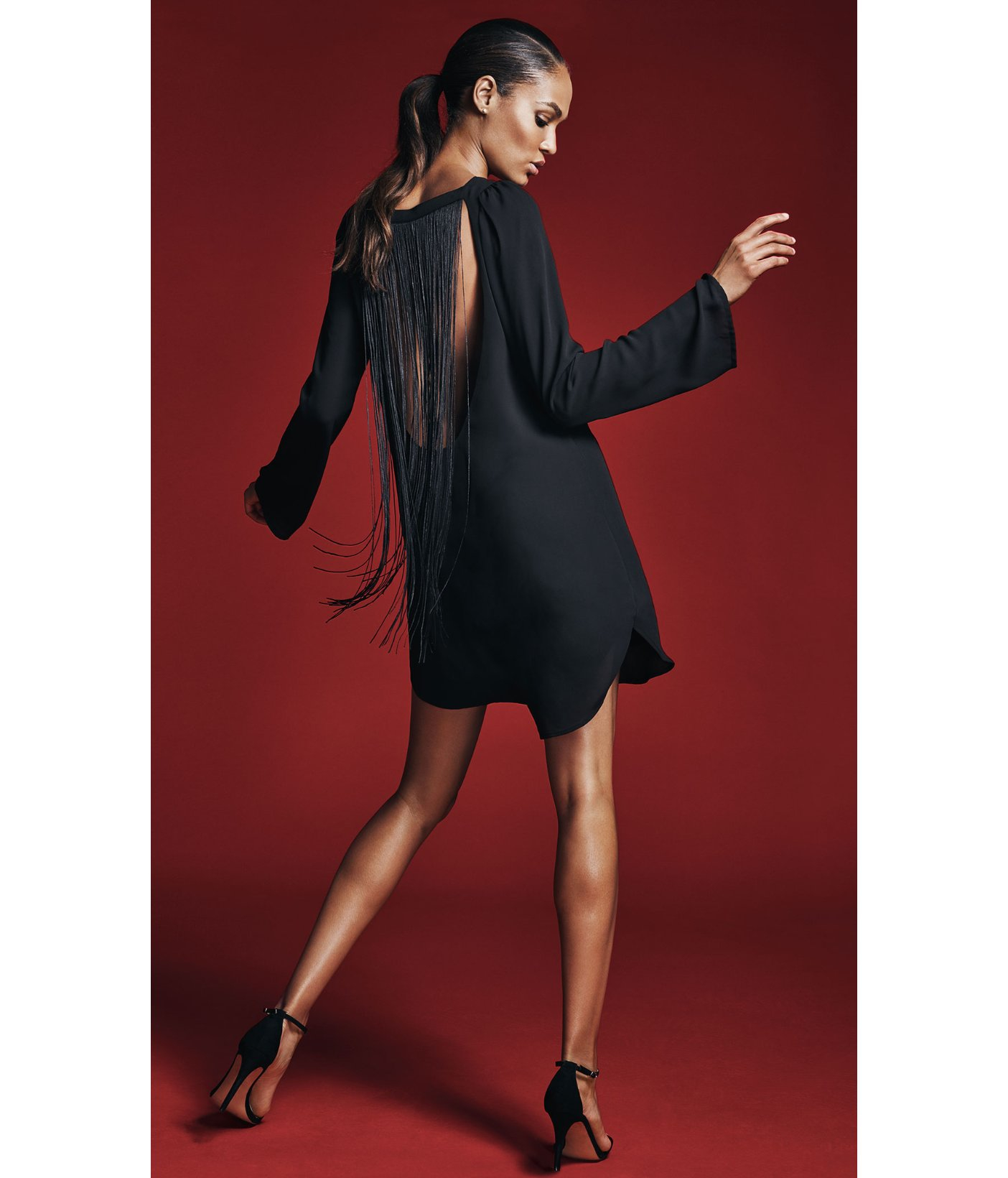V cut black dress express