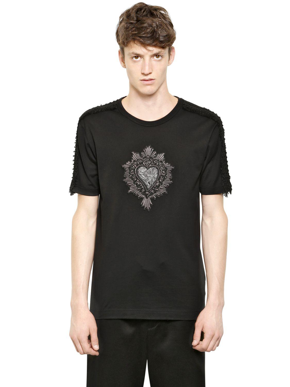Dolce gabbana heart patch on cotton t shirt in black lyst for Dolce gabbana t shirt women