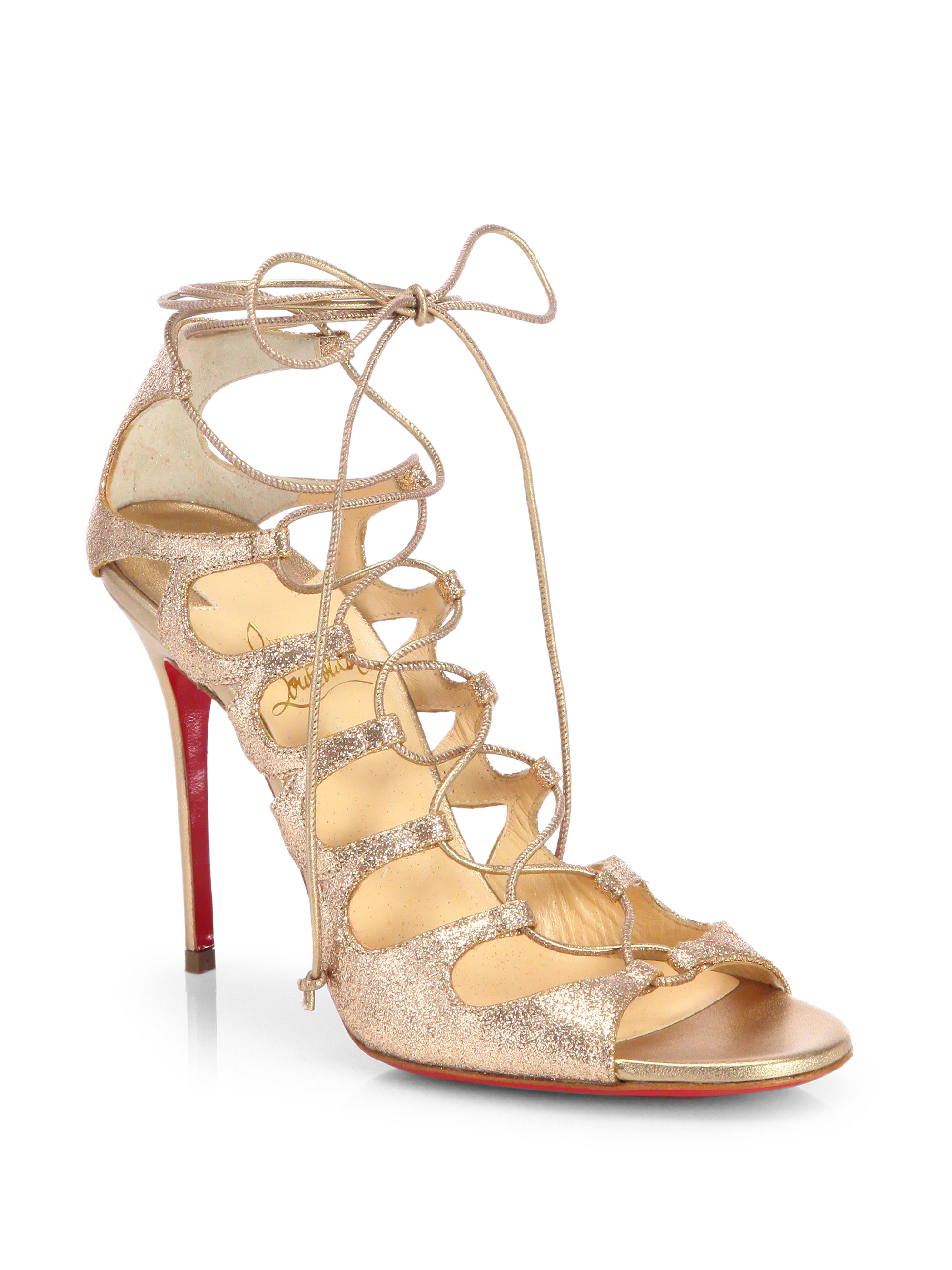 christian louboutin gold flat sandals