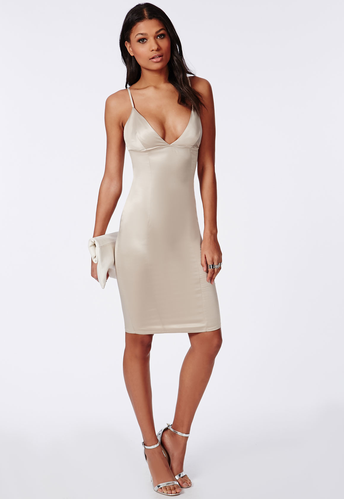 Missguided Silky Midi Dress Nude In Natural - Lyst-7893