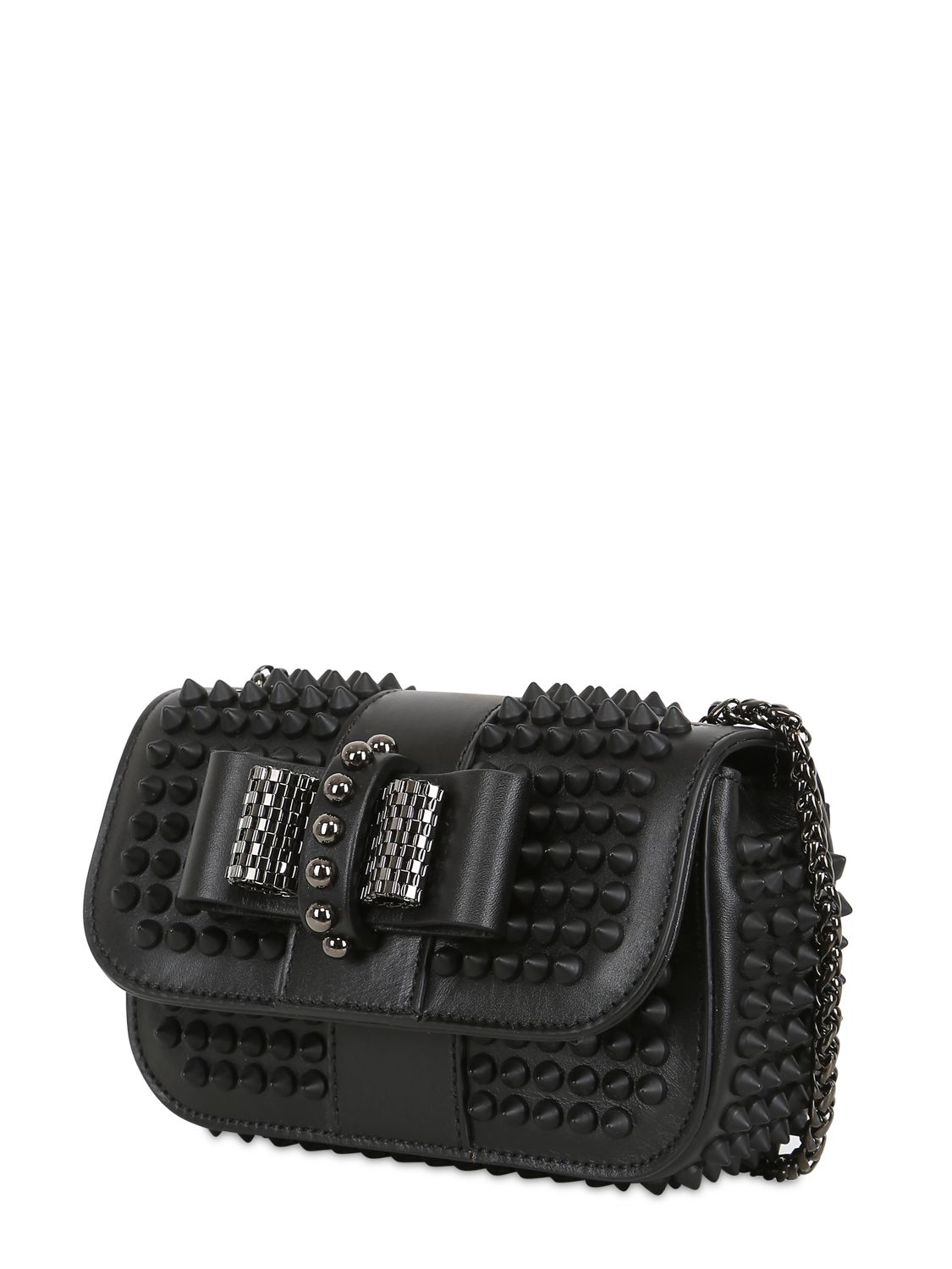 Christian Louboutin Sweety Charity Spikes Leather Bag in Black