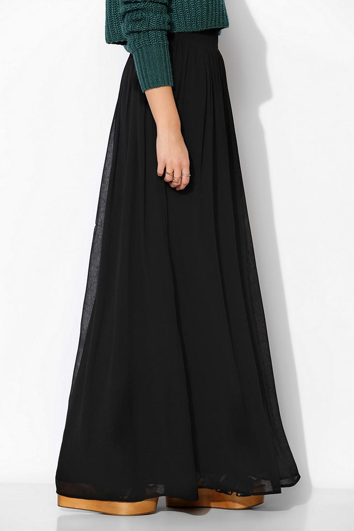 pins and needles yoke chiffon maxi skirt in black lyst