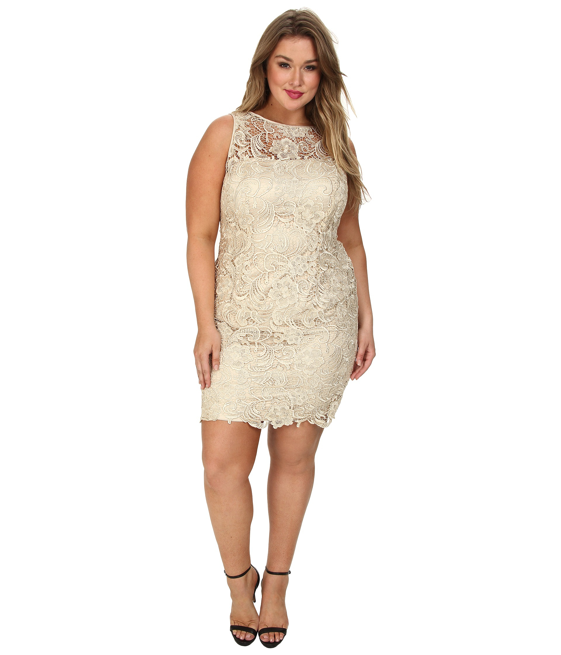 Plus Size Illusion Neck Lace Dress