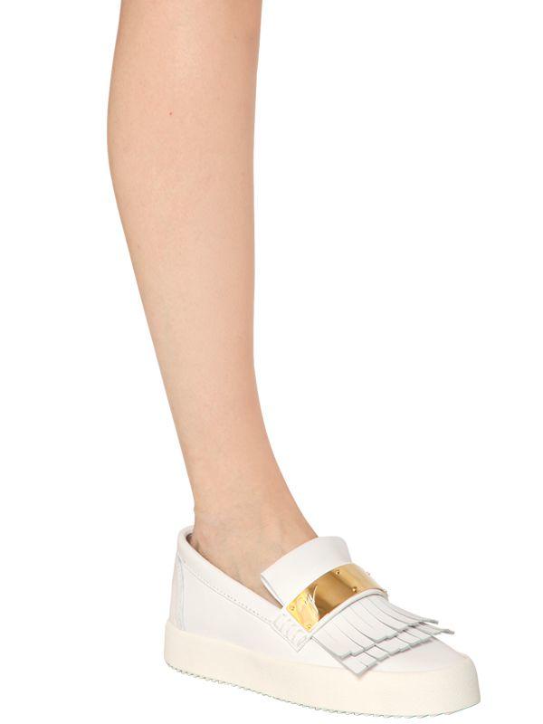 Giuseppe Zanotti 20mm Fringed Leather Slip-on Sneakers in White