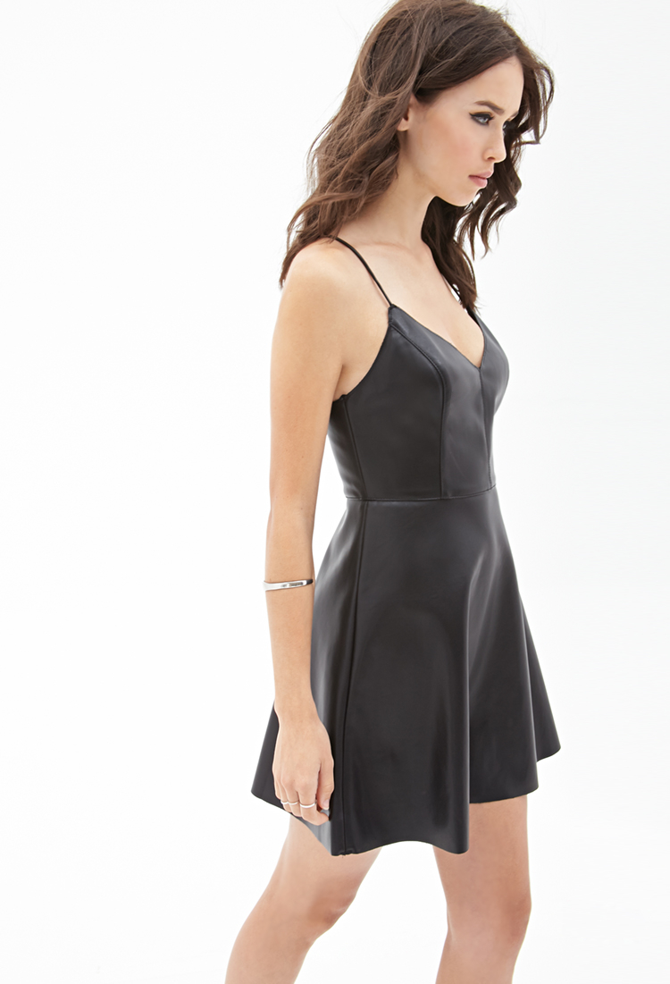 c8840a1ceb91a Forever 21 Faux Leather Cami Dress in Black - Lyst
