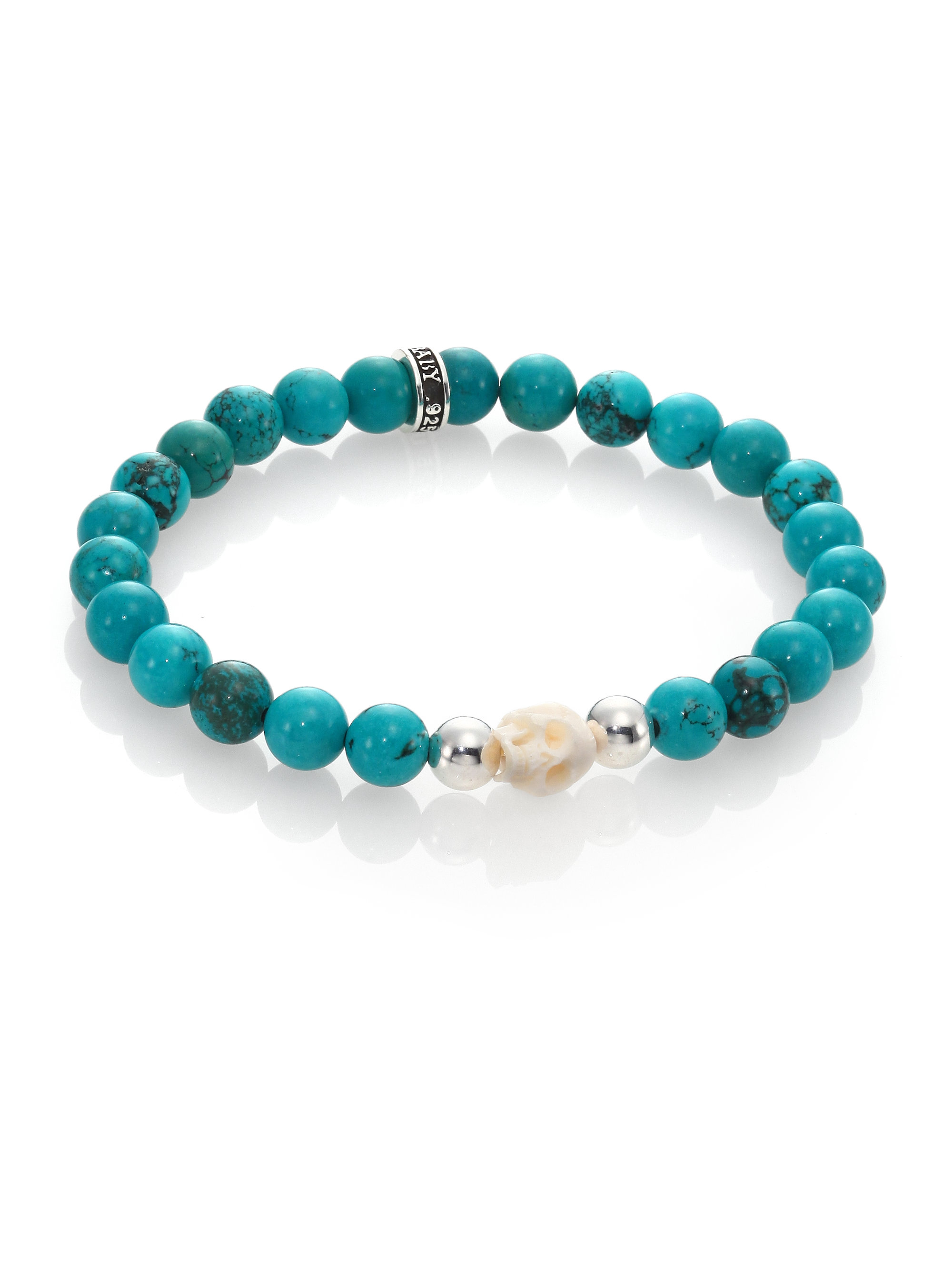 King baby studio turquoise bead bracelet in blue lyst for King baby jewelry sale