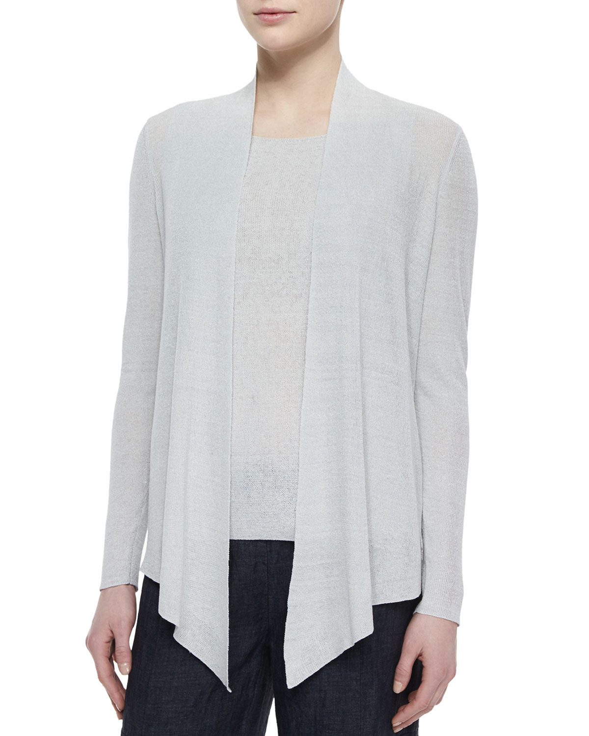 Lyst Eileen Fisher Long Angled Linen Blend Cardigan In White
