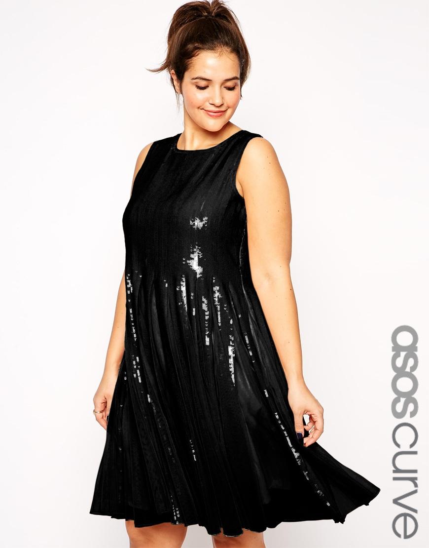Lyst Asos Curve Mesh Amp Sequin Skater Dress In Black
