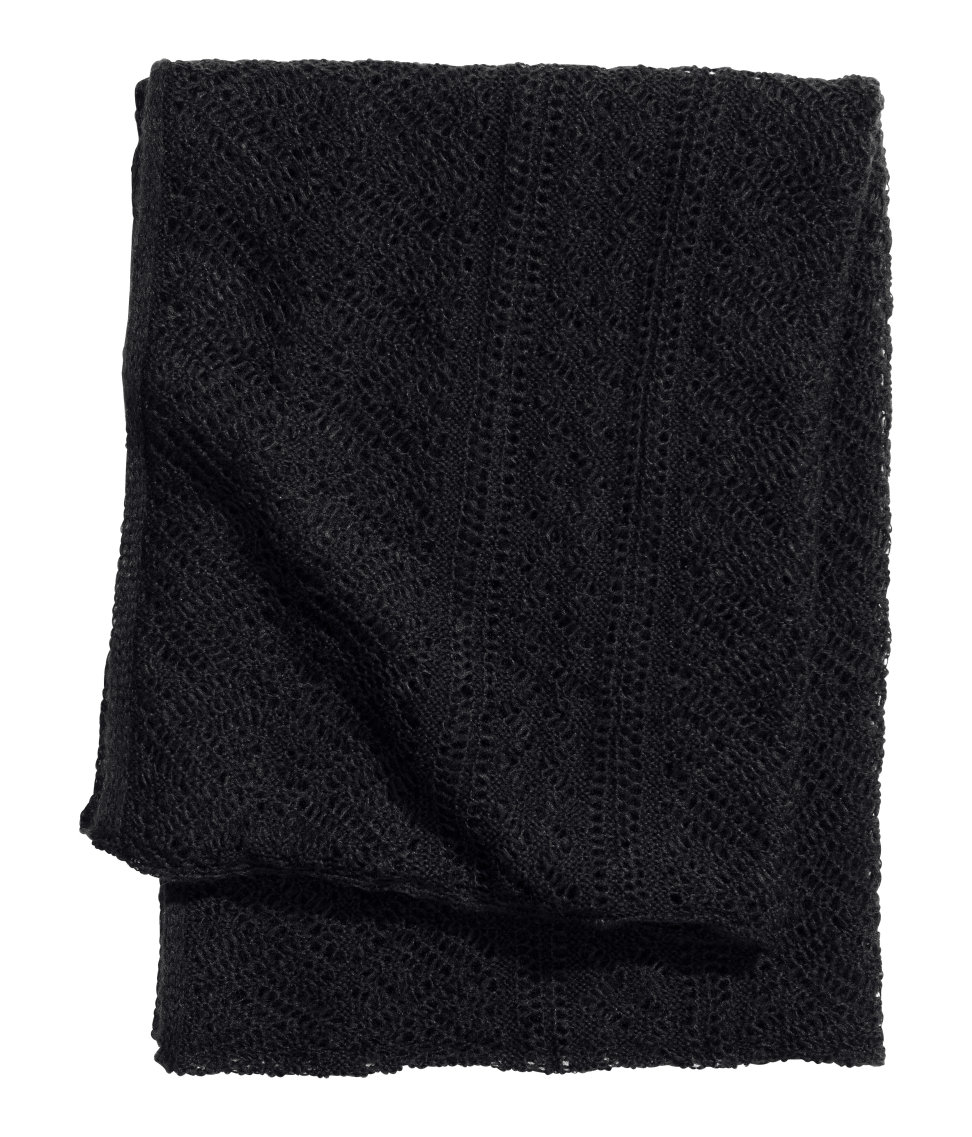 Free Knitting Patterns For Tube Scarves : H&m Pattern-Knit Tube Scarf in Black Lyst