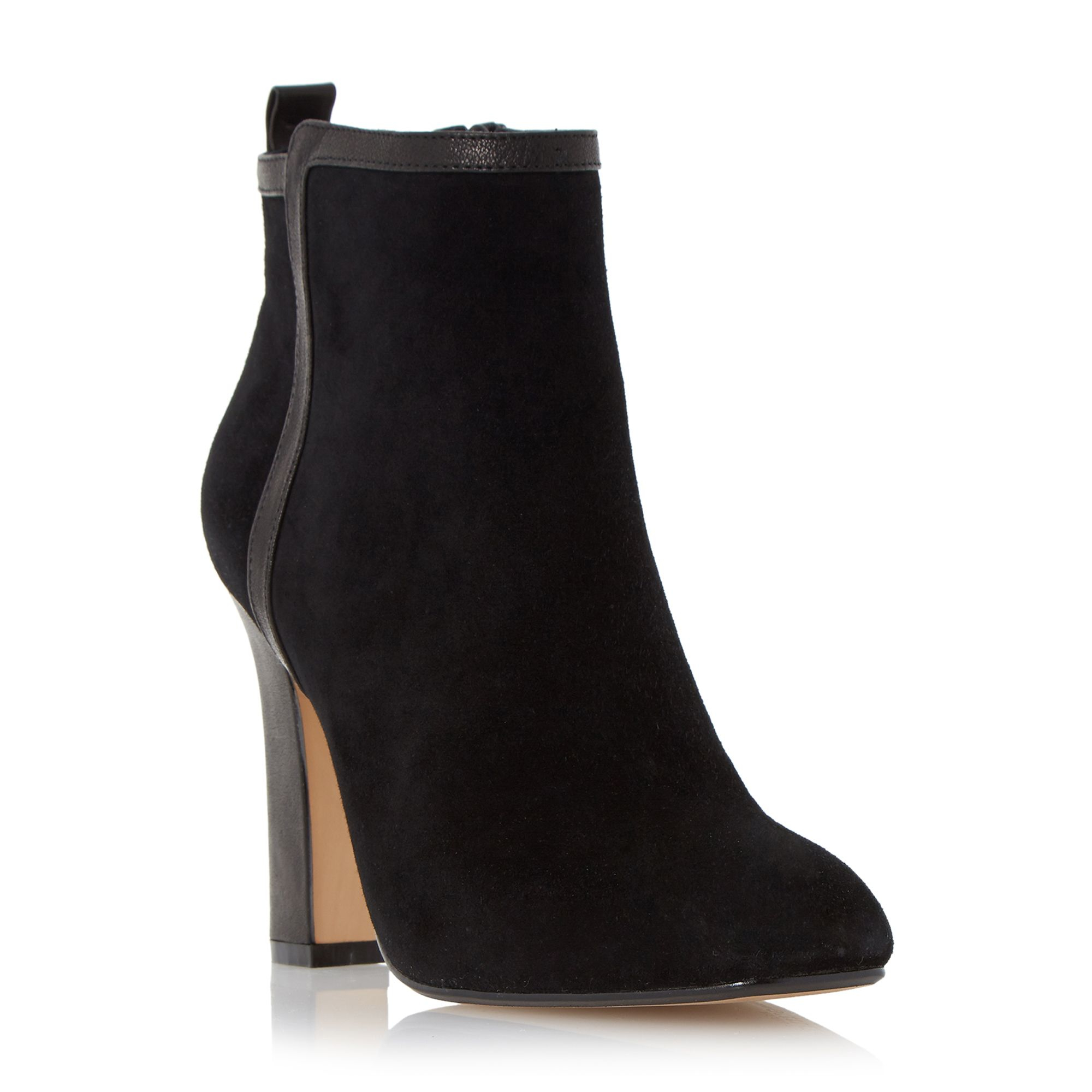 dune oke high heel leather trim ankle boots in black