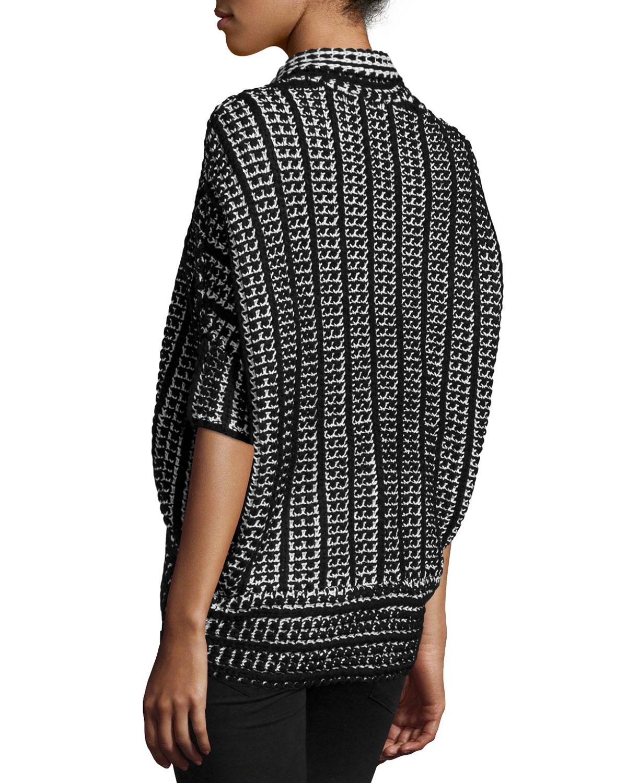 Neiman marcus Short-sleeve Open-front Cocoon Cardigan in Black | Lyst