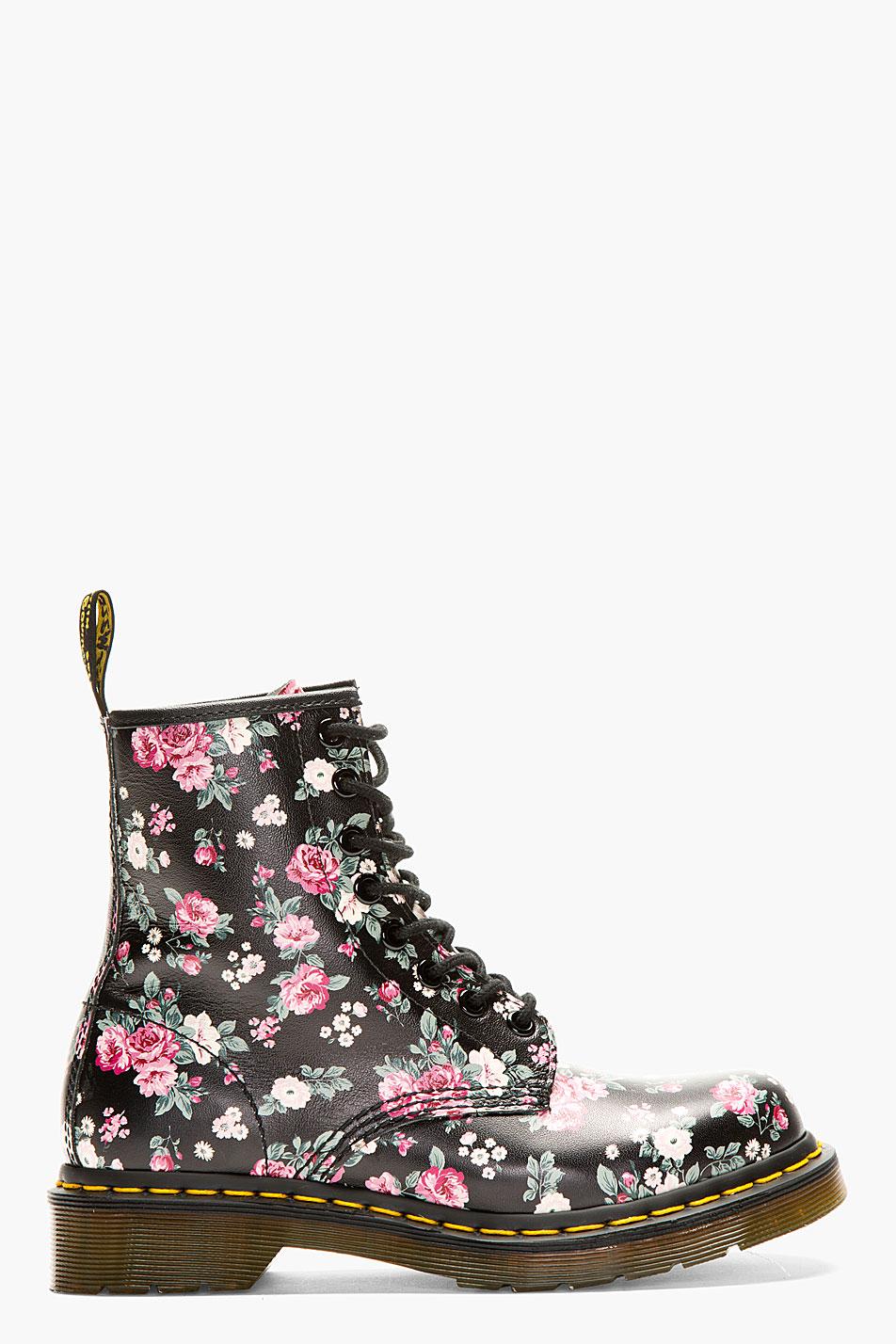 Dr Martens Black Floral Print 8 Eye Ankle Boots Lyst