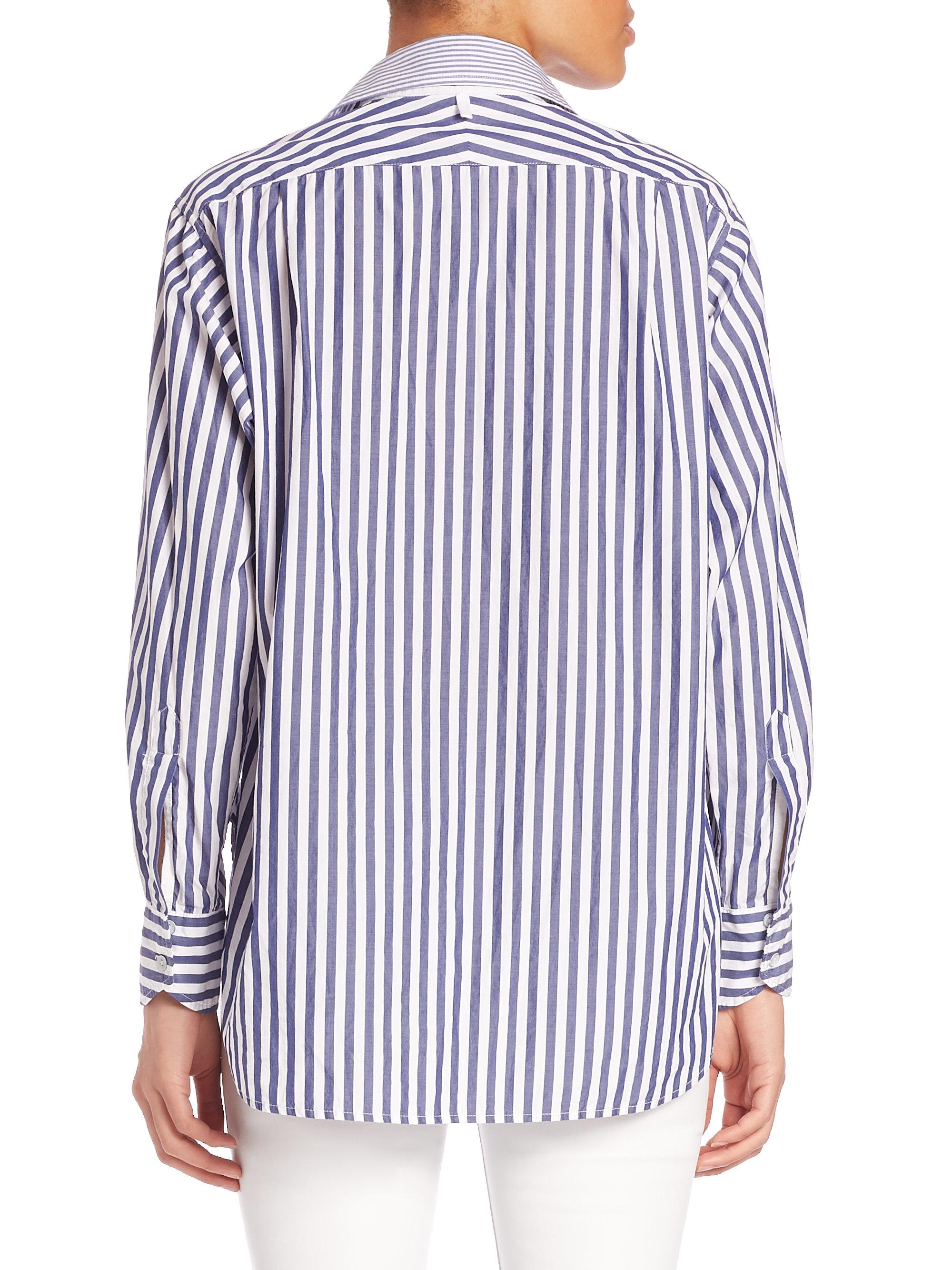 Rag bone striped cotton boyfriend shirt in blue lyst for Rag bone shirt