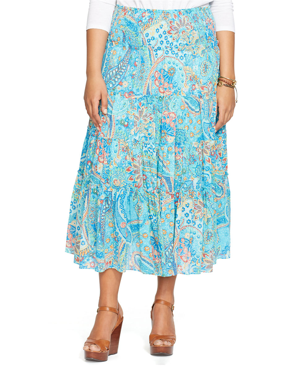by ralph plus tiered paisley skirt in blue