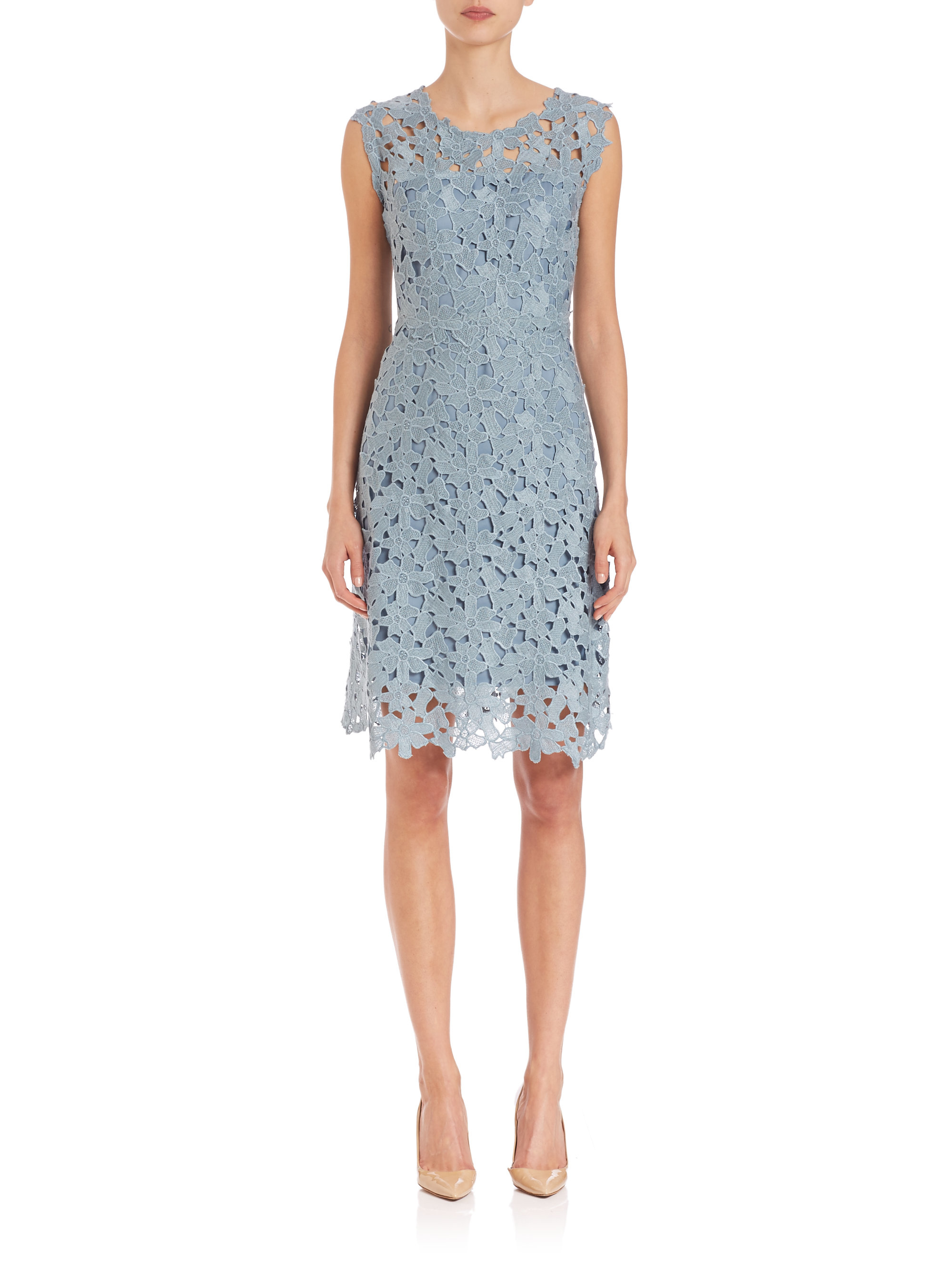 Elie tahari Ophelia Lace Dress in Blue (gust) | Lyst