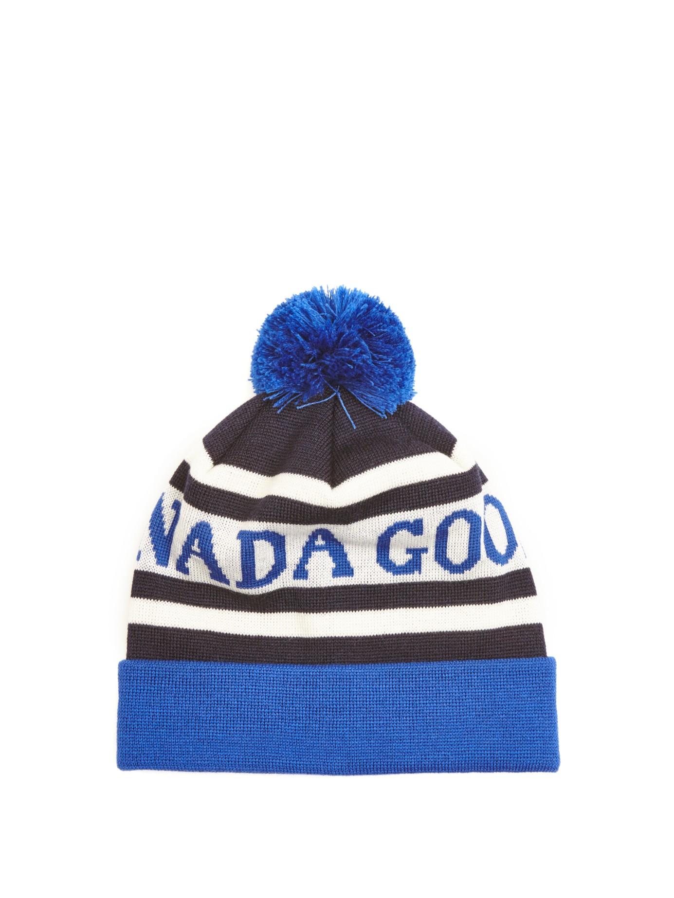 Canada Goose montebello parka replica fake - Canada goose Logo-intarsia Wool Beanie Hat in Blue for Men (NAVY ...