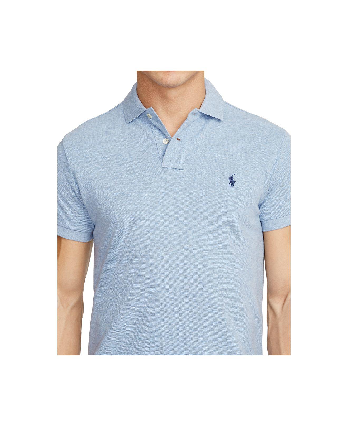 polo ralph lauren men 39 s slim fit mesh polo shirt in blue