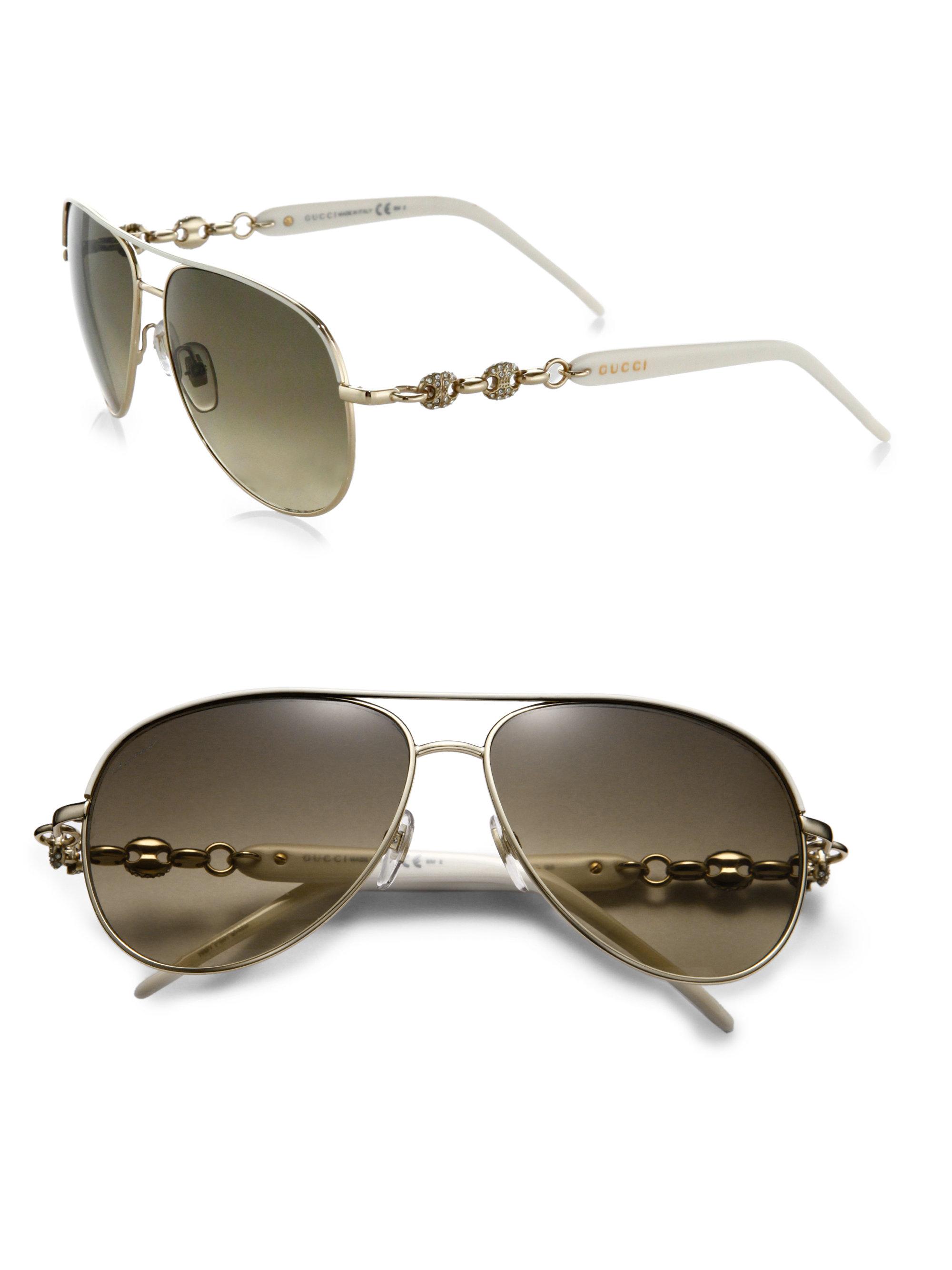 254cf287560 Lyst - Gucci Marina Chain 58mm Aviator Sunglasses in White for Men