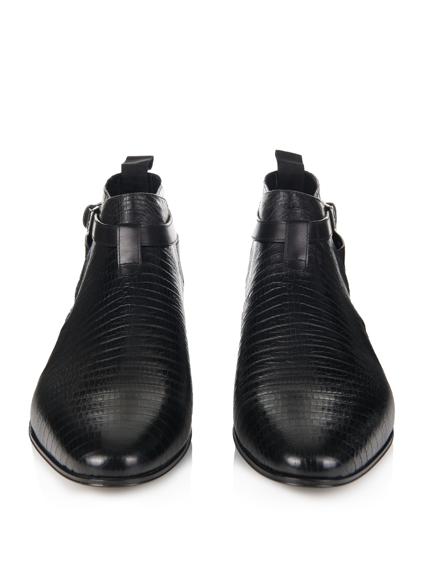 304a15949ce Saint Laurent Lizard-Effect Leather Ankle Boots in Black for Men - Lyst