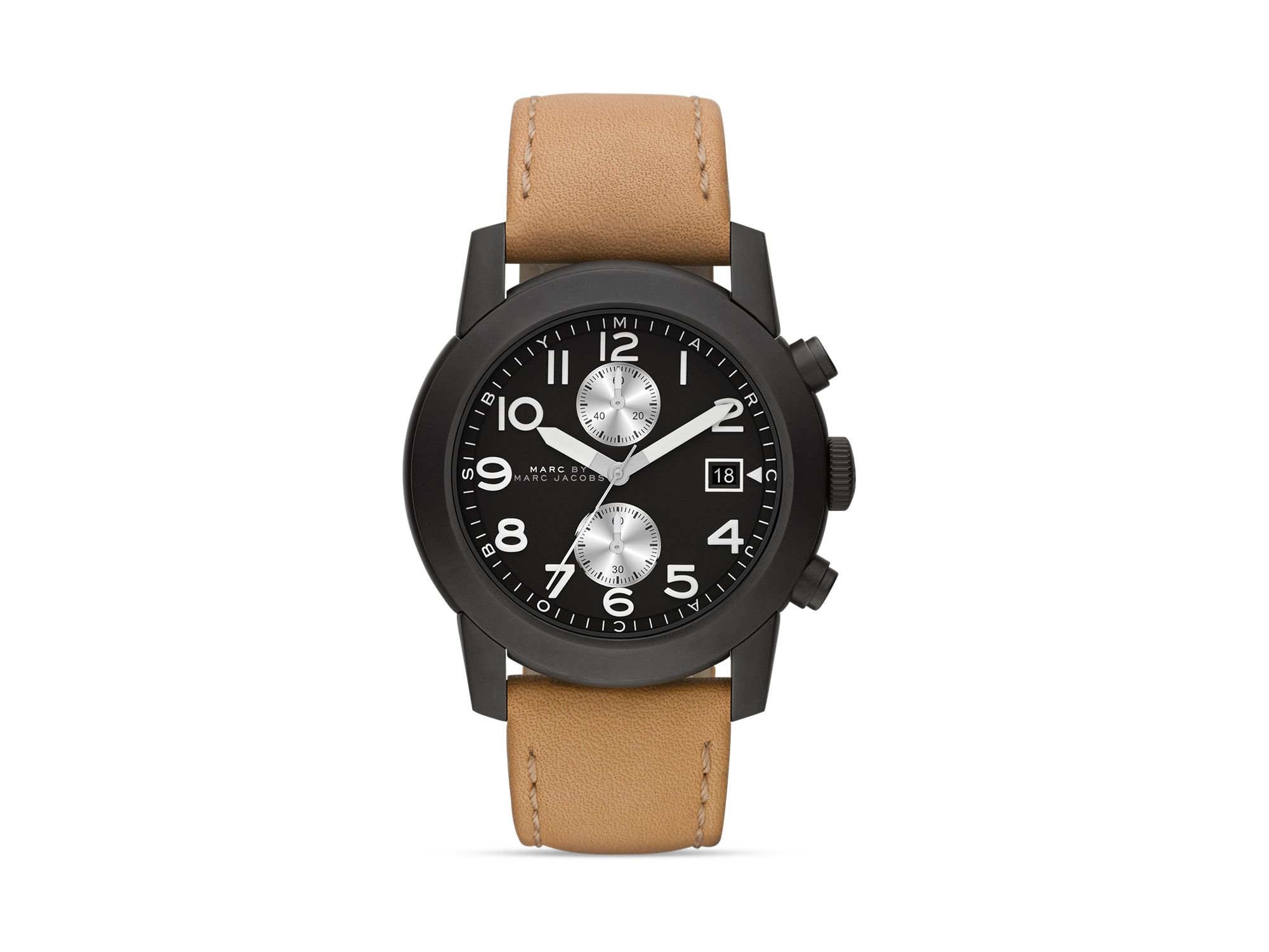 marc by marc jacobs larry tan leather mens military watch in brown gallery