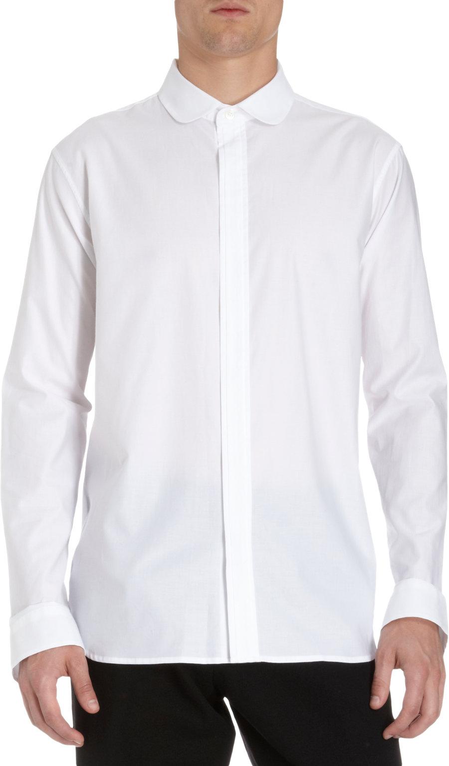 Ann demeulemeester peter pan collar shirt in white for men for White cotton shirt peter pan collar