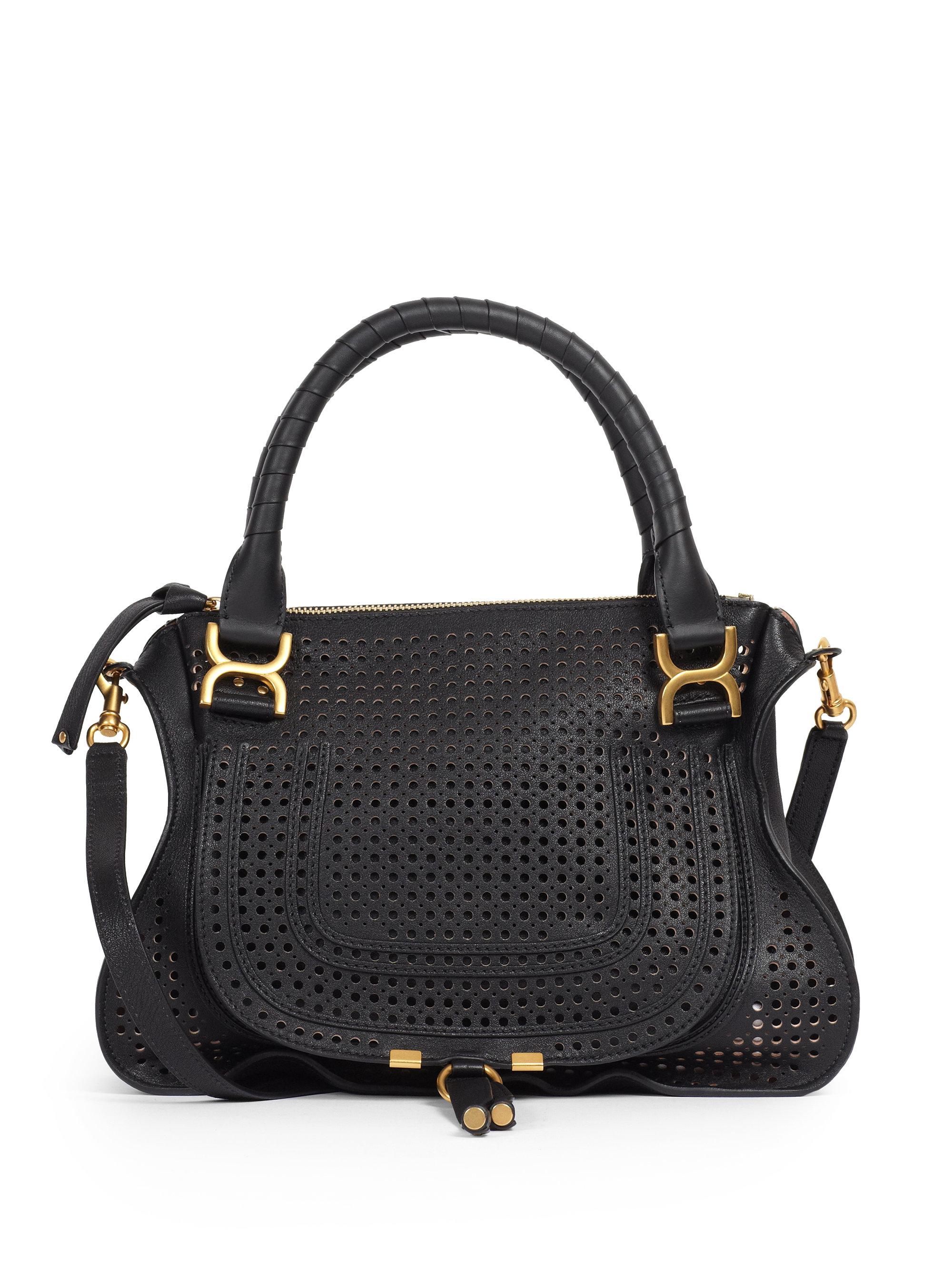 chlo marcie medium perforated satchel in black lyst. Black Bedroom Furniture Sets. Home Design Ideas