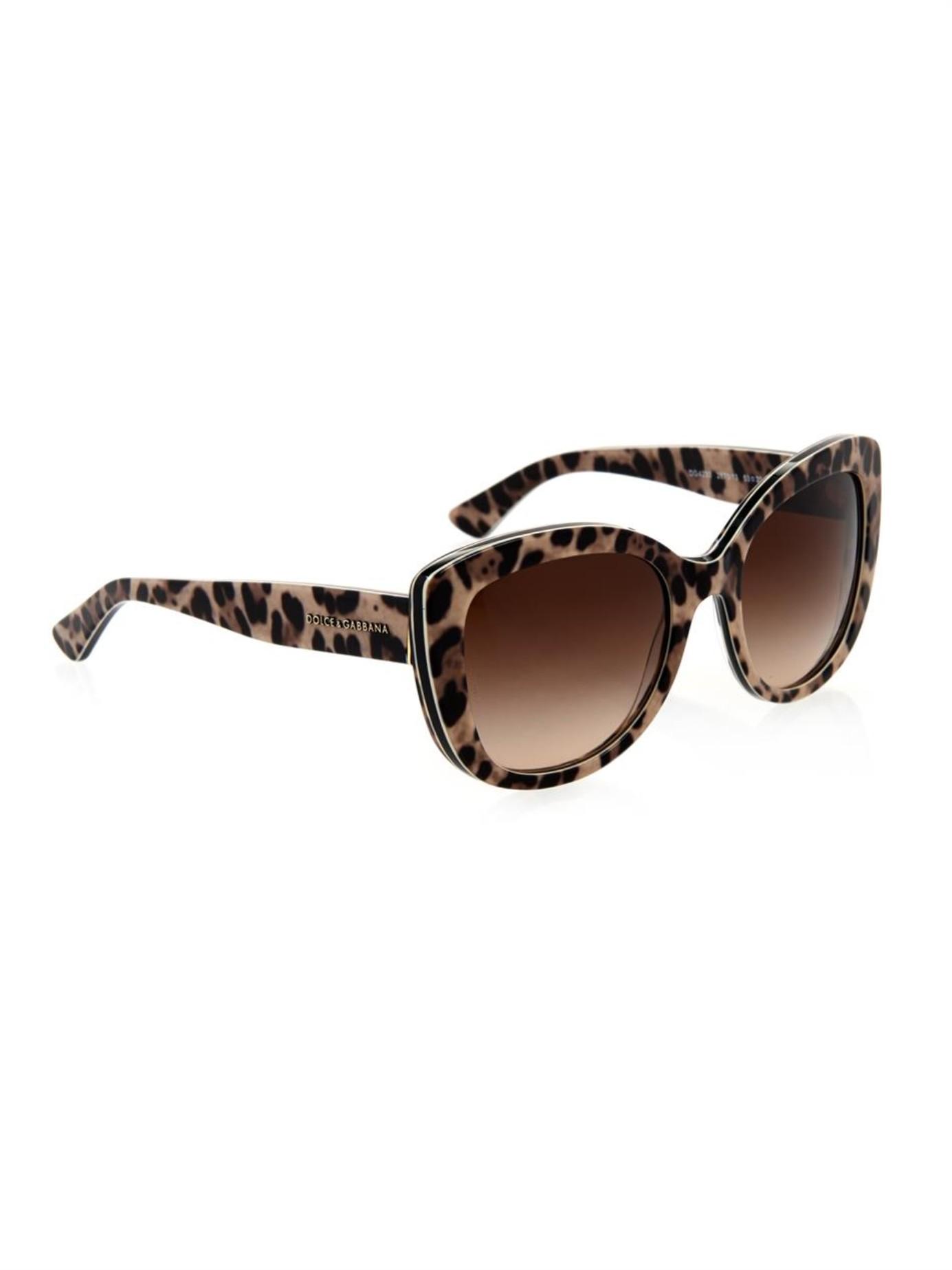 559f9bd787 Dolce   Gabbana Leopard-Print Cat-Eye Sunglasses - Lyst