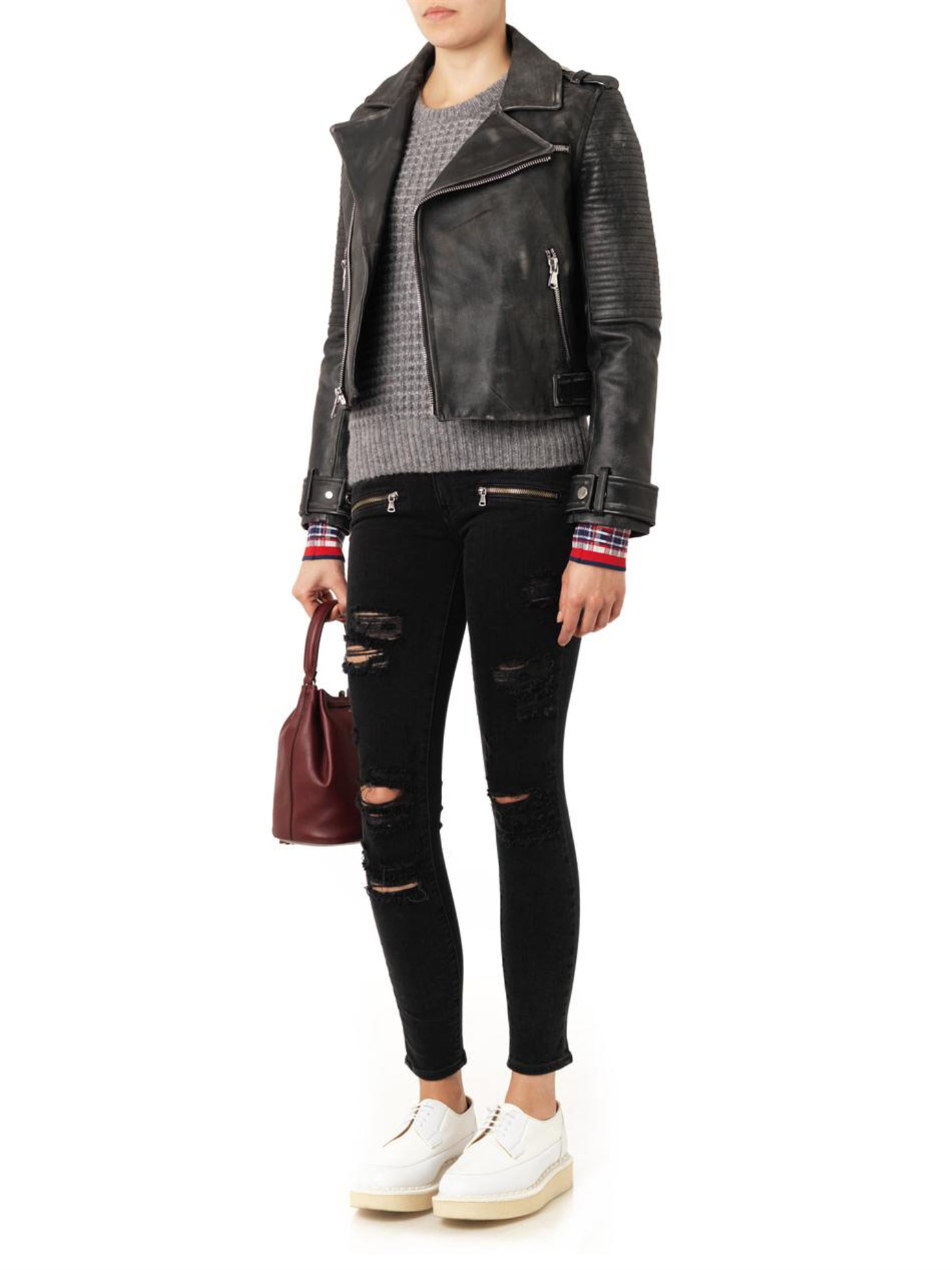 Marc By Marc Jacobs Distressed Leather Biker Jacket In