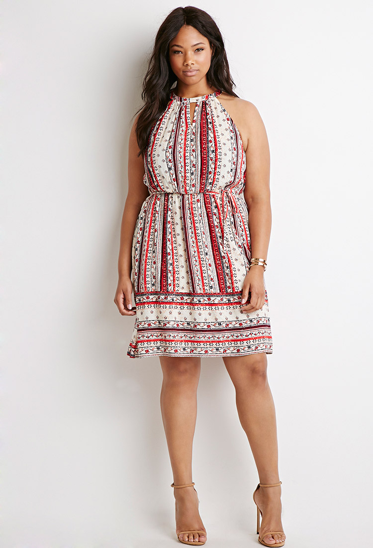 Forever 21 Plus Size Floral Stripe Print Dress In Natural