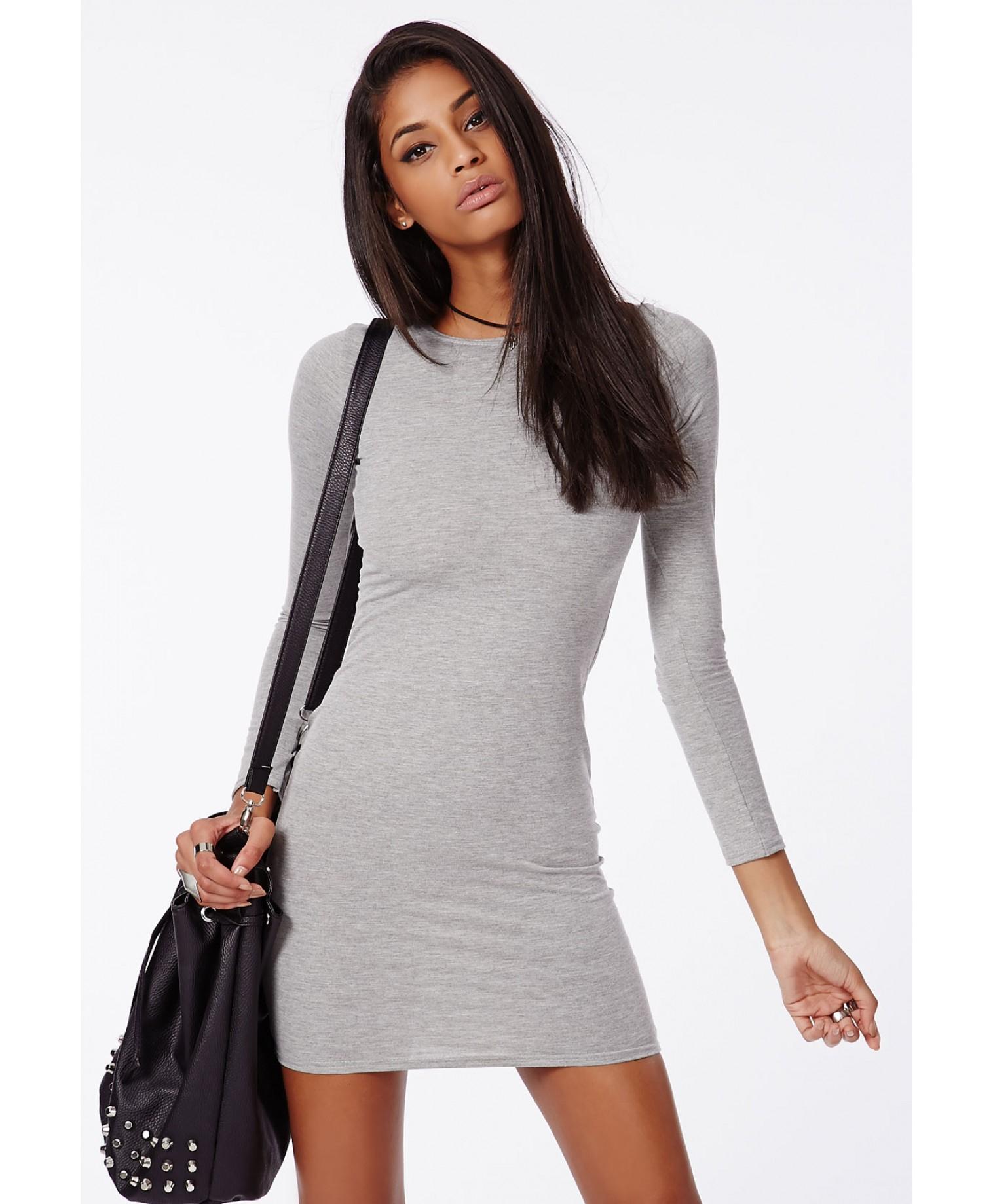 Grey Dress: Missguided Rainey Long Sleeve Bodycon Dress Grey In Gray