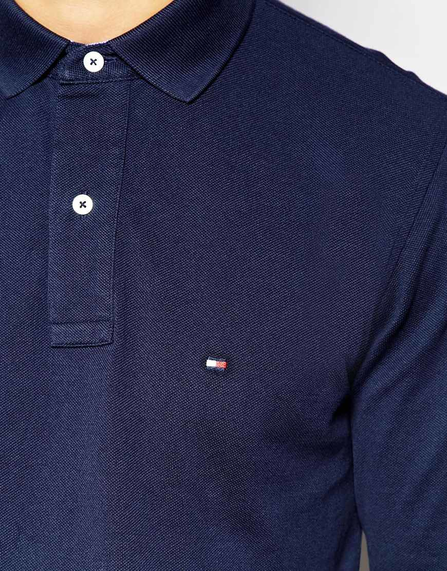 083b3ab9 Tommy Hilfiger Long Sleeve Polo With Contrast Under Collar Regular Fit Navy  in Blue for Men - Lyst