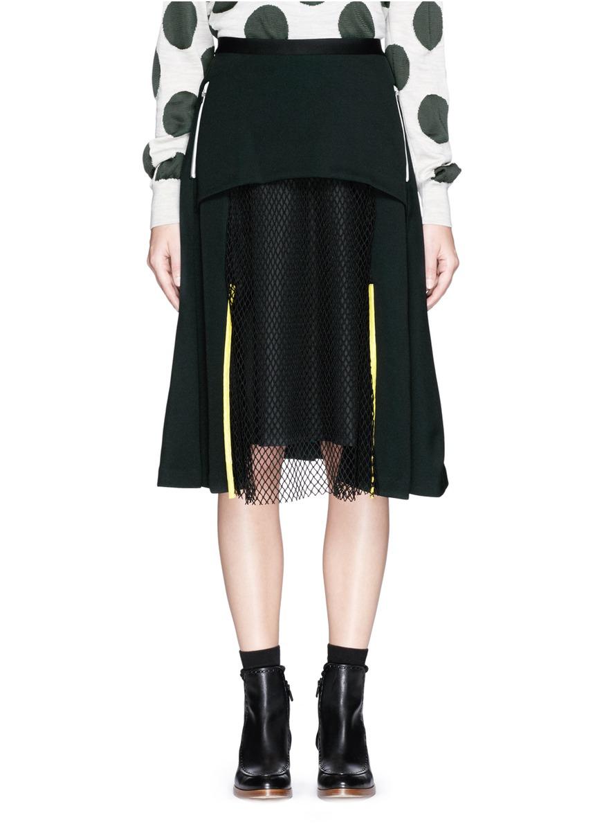 toga archives mesh panel jersey midi skirt in black lyst