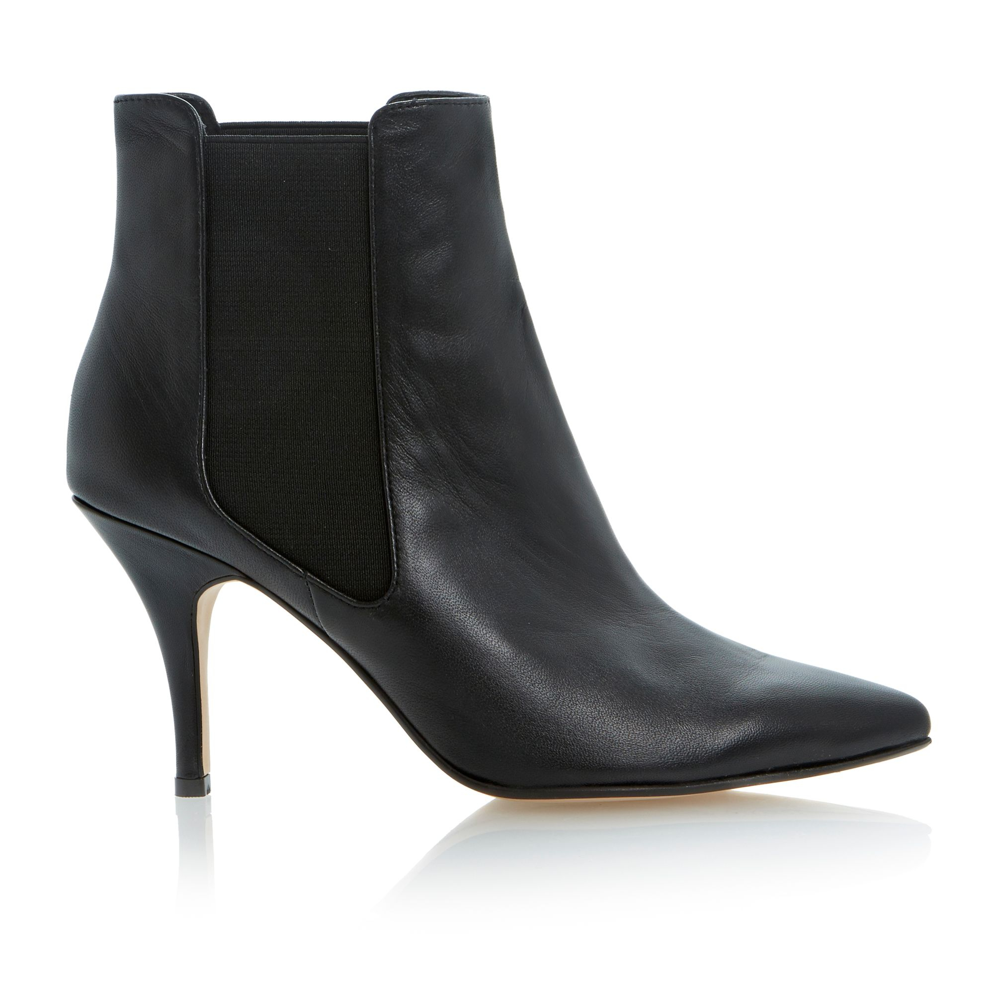 Dune Nightlife Leather Pointed Toe Stiletto Low Boots in Black Leather (Black)