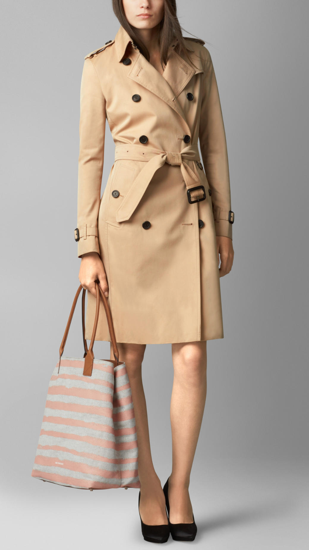 Burberry Medium Canvas Stripe Tote Bag in Pink