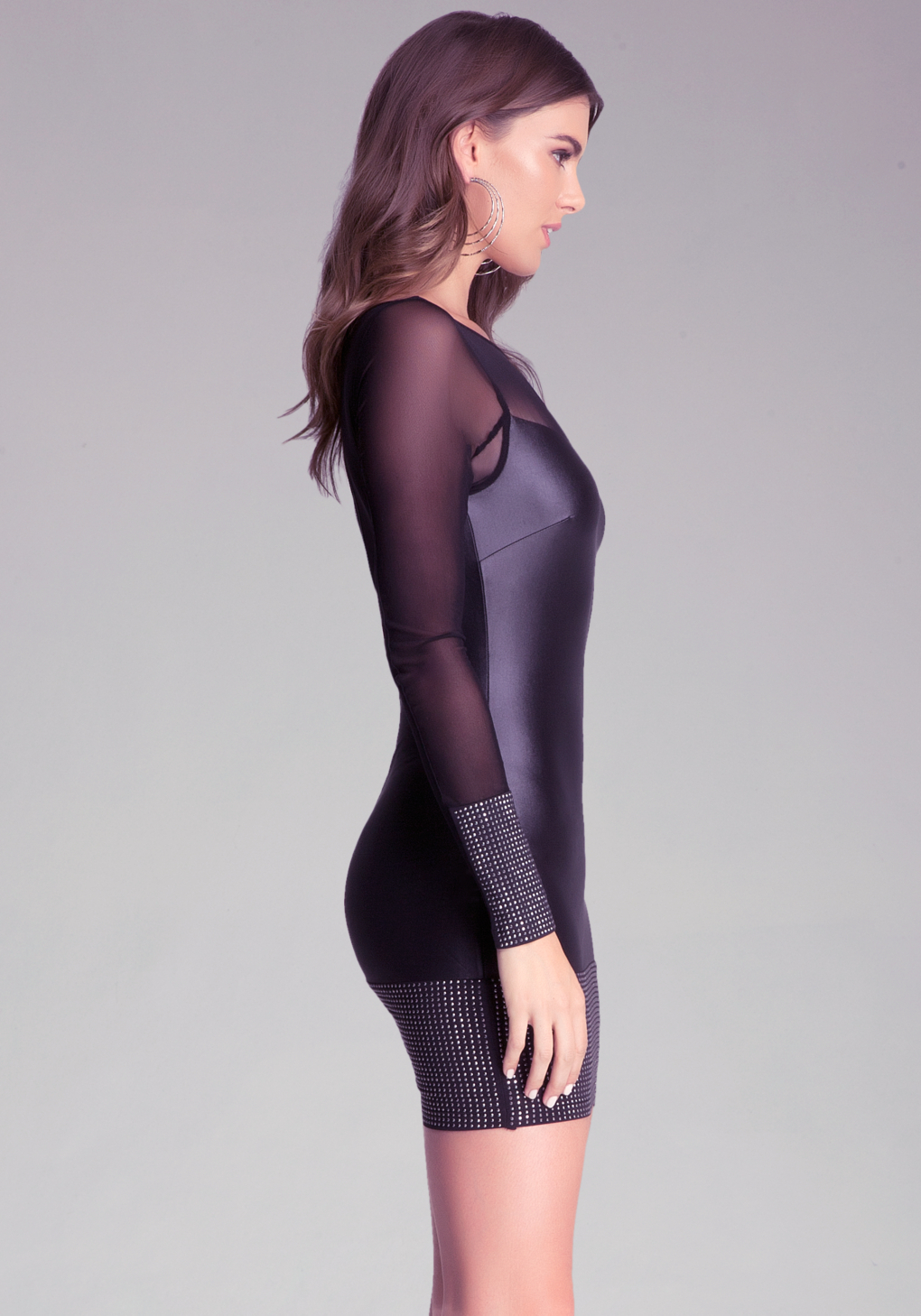 Lyst - Bebe Studded Band Coated Jersey Dress in Black - photo #10