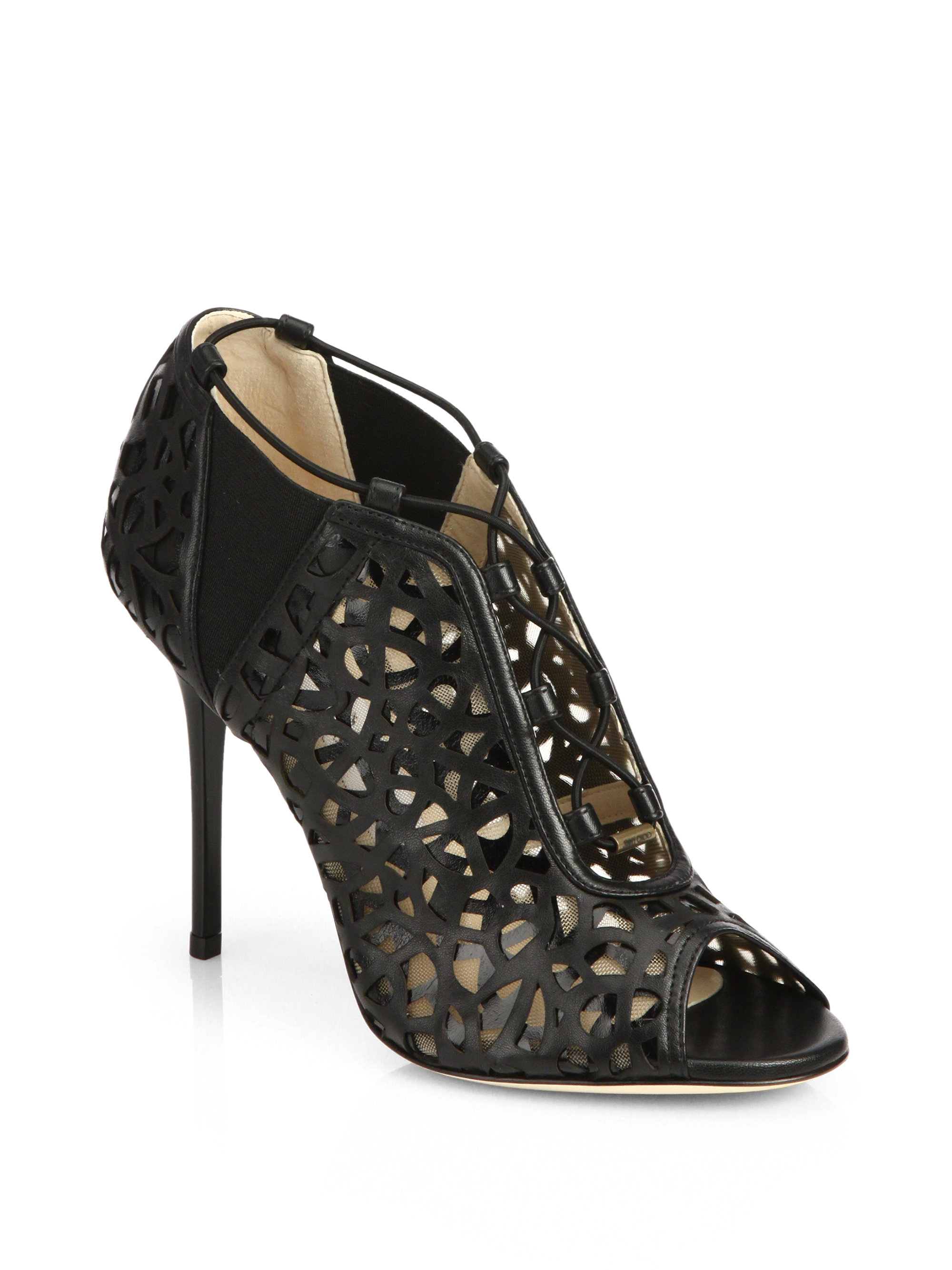 Jimmy Choo Leather Laser Cut Booties cheap good selling limited edition cheap online discount 2014 new outlet newest with credit card online cfg9YGlYhX