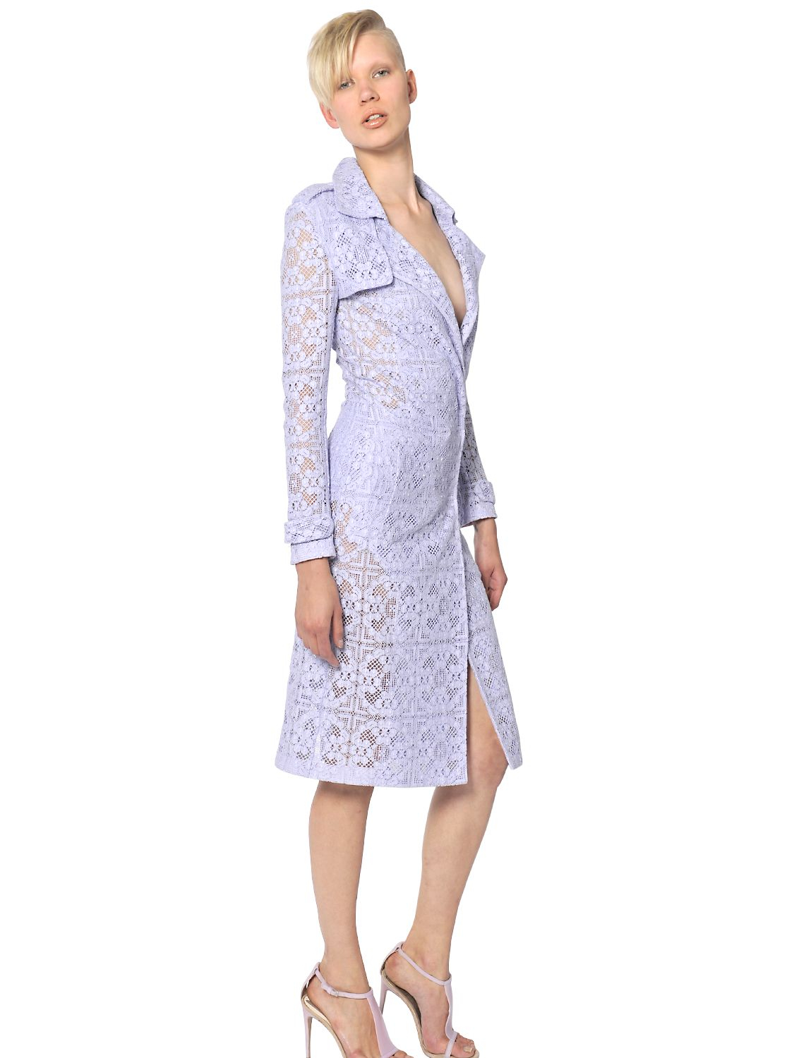 Burberry Prorsum Cotton Victorian Lace Trench Coat In