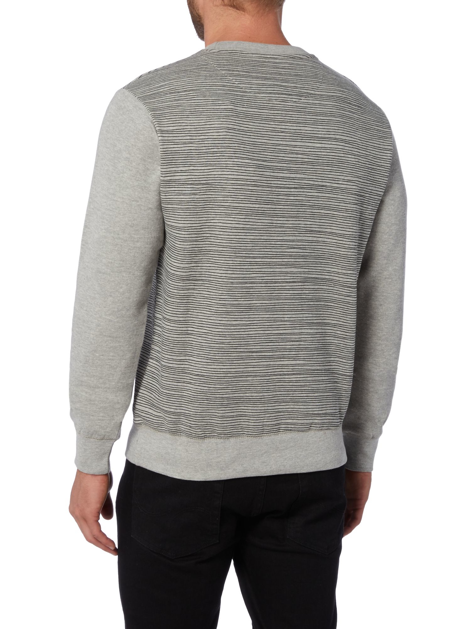 Bellfield Zurbar Finestripe Pattern Crew Neck Jumper in Grey Marl (Grey) for Men