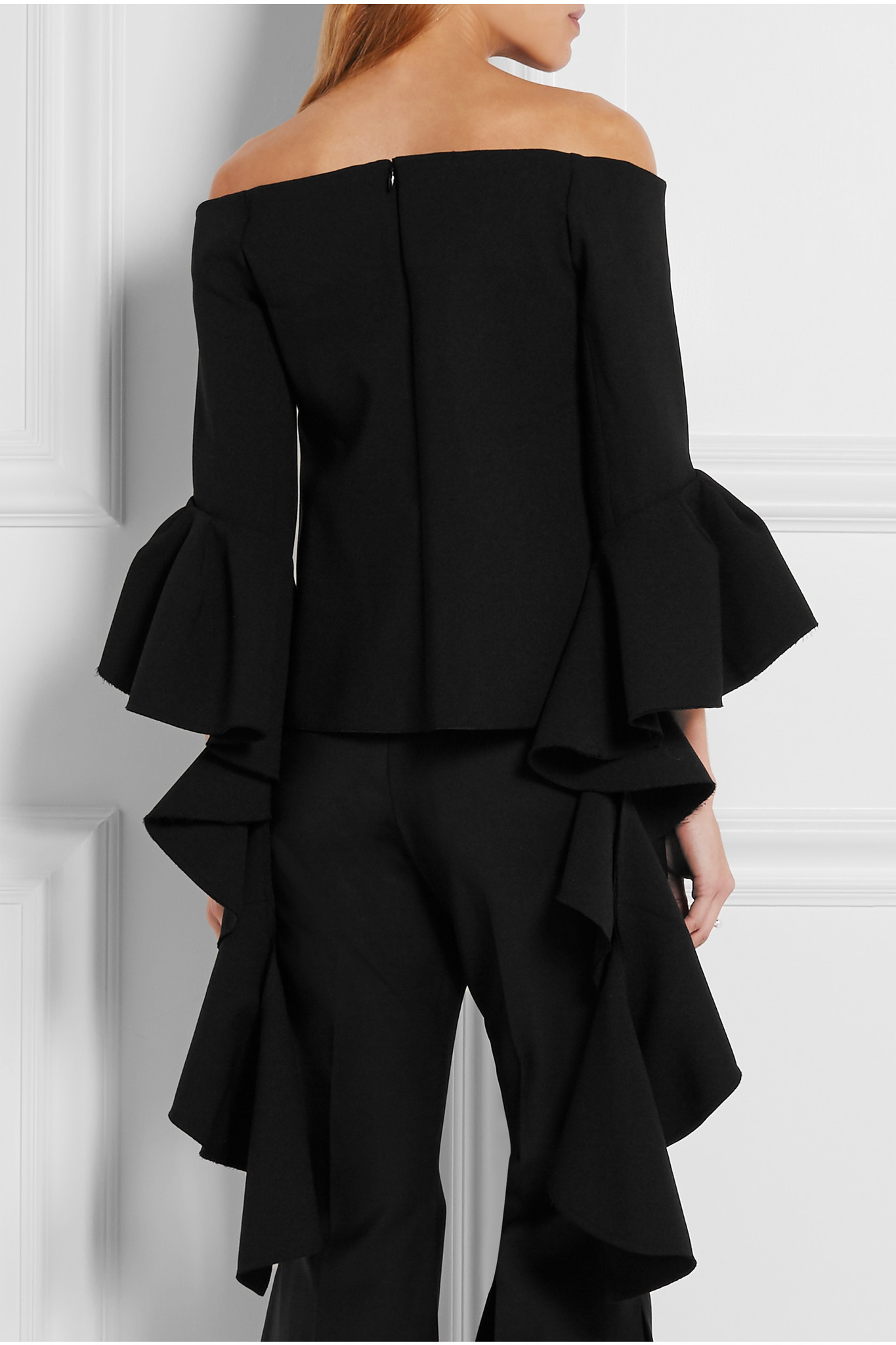 Cheap Sale For Nice Low Shipping Fee Sale Online Ellery Woman Cold-shoulder Ruffled Crepe-satin Top Black Size 4 Ellery 3aWIjXS3b
