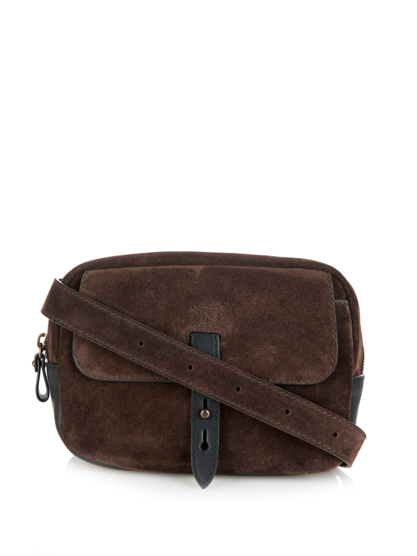 Tomas Maier Suede And Leather Belt Bag In Brown For Men Lyst