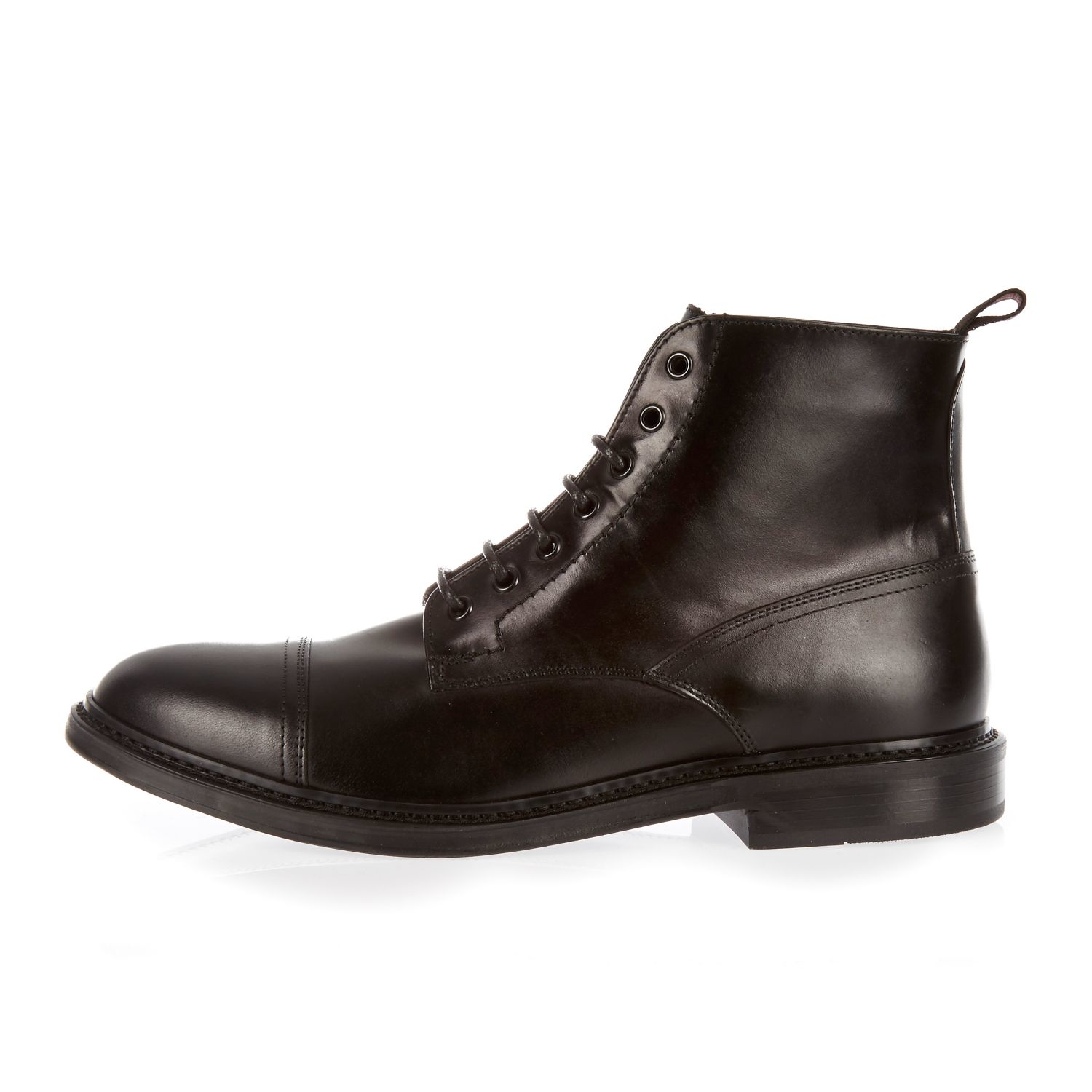 river island black smart leather lace up toe cap boots in