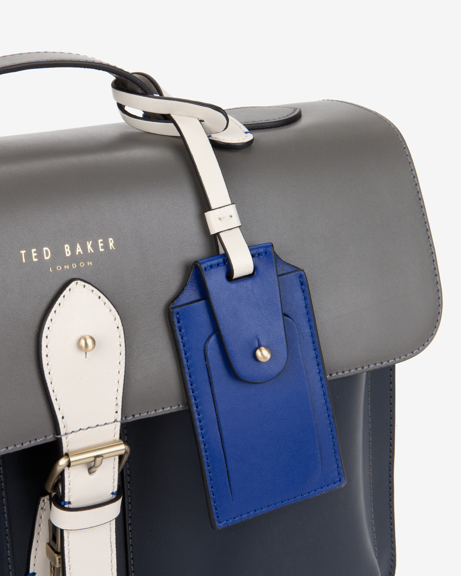 2ef8e0dfb Lyst - Ted Baker Color Block Leather Satchel in Gray for Men