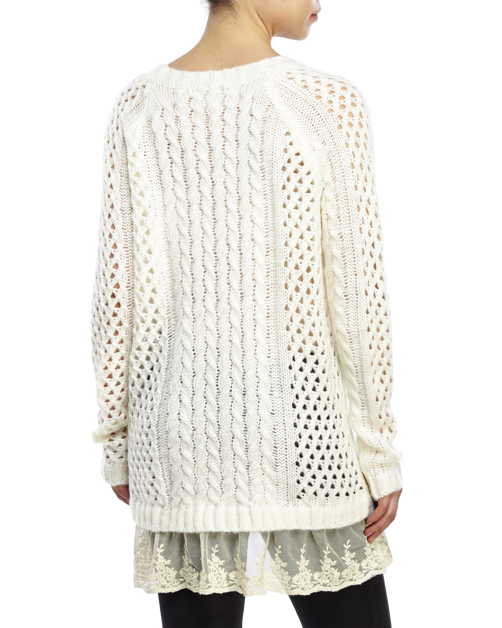 Pol Oversized Lace Trim Sweater in Natural | Lyst