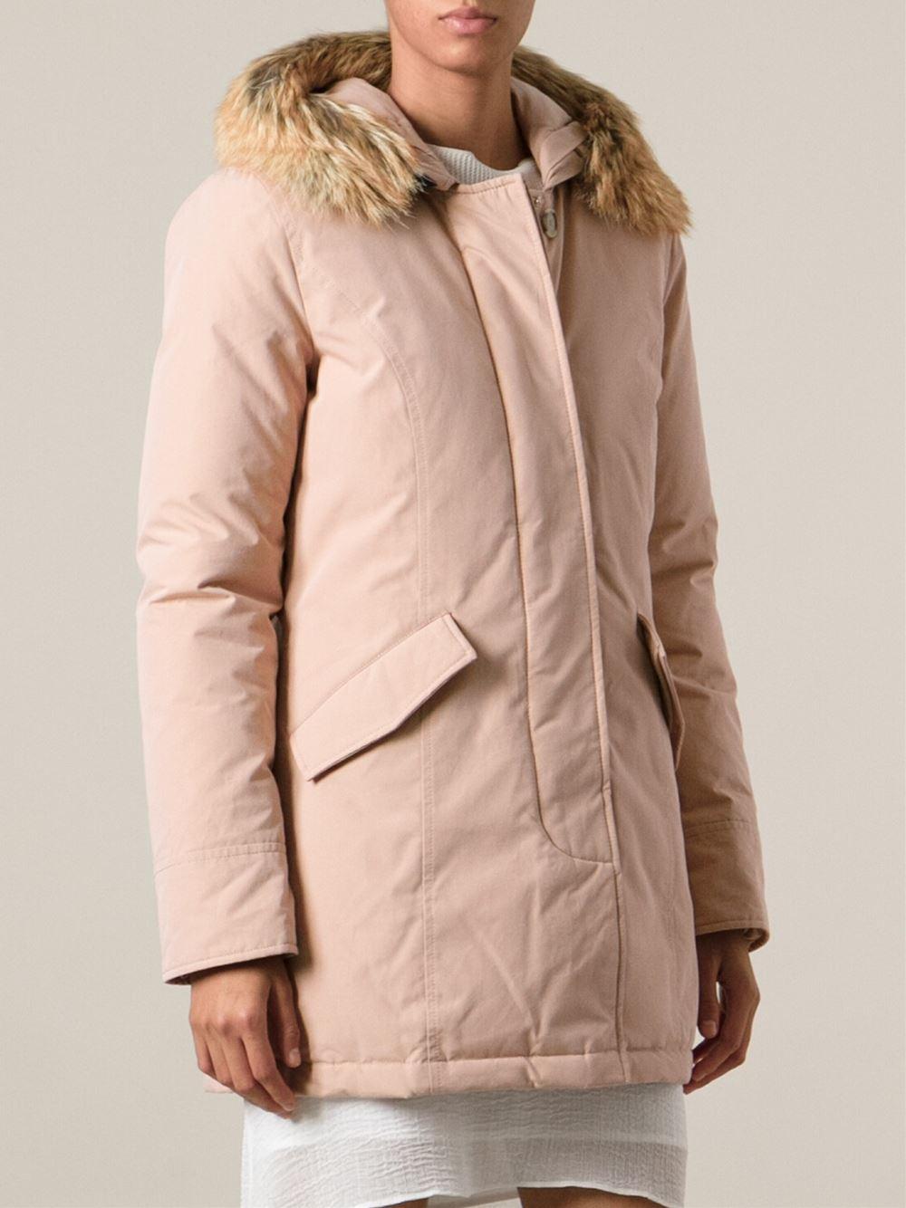 Woolrich Fur Hood Padded Coat In Pink Lyst