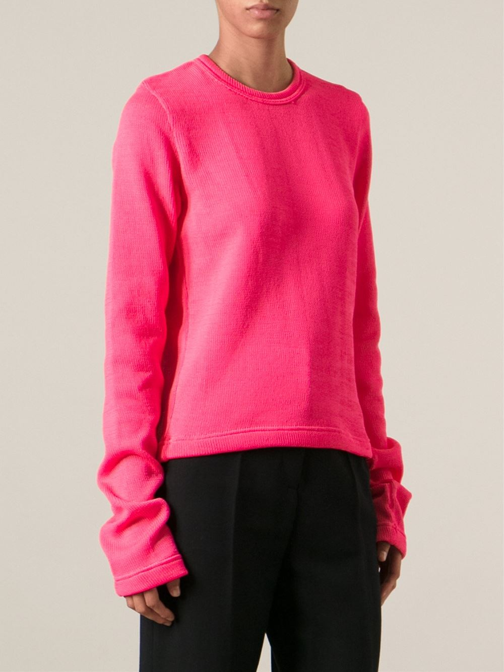 Comme des garçons Extra Long Sleeve Sweater in Pink | Lyst