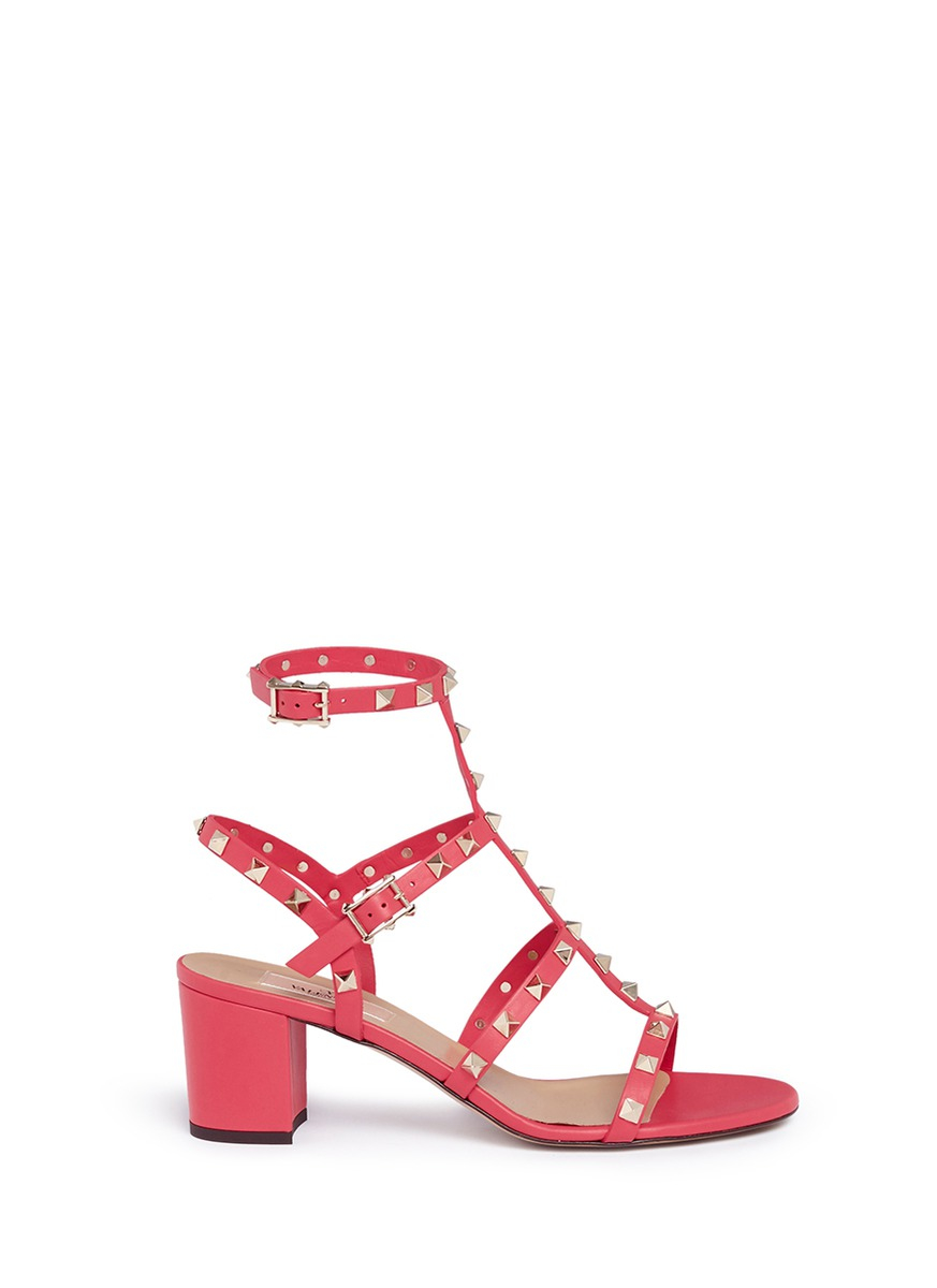 valentino rockstud caged leather sandals in pink lyst