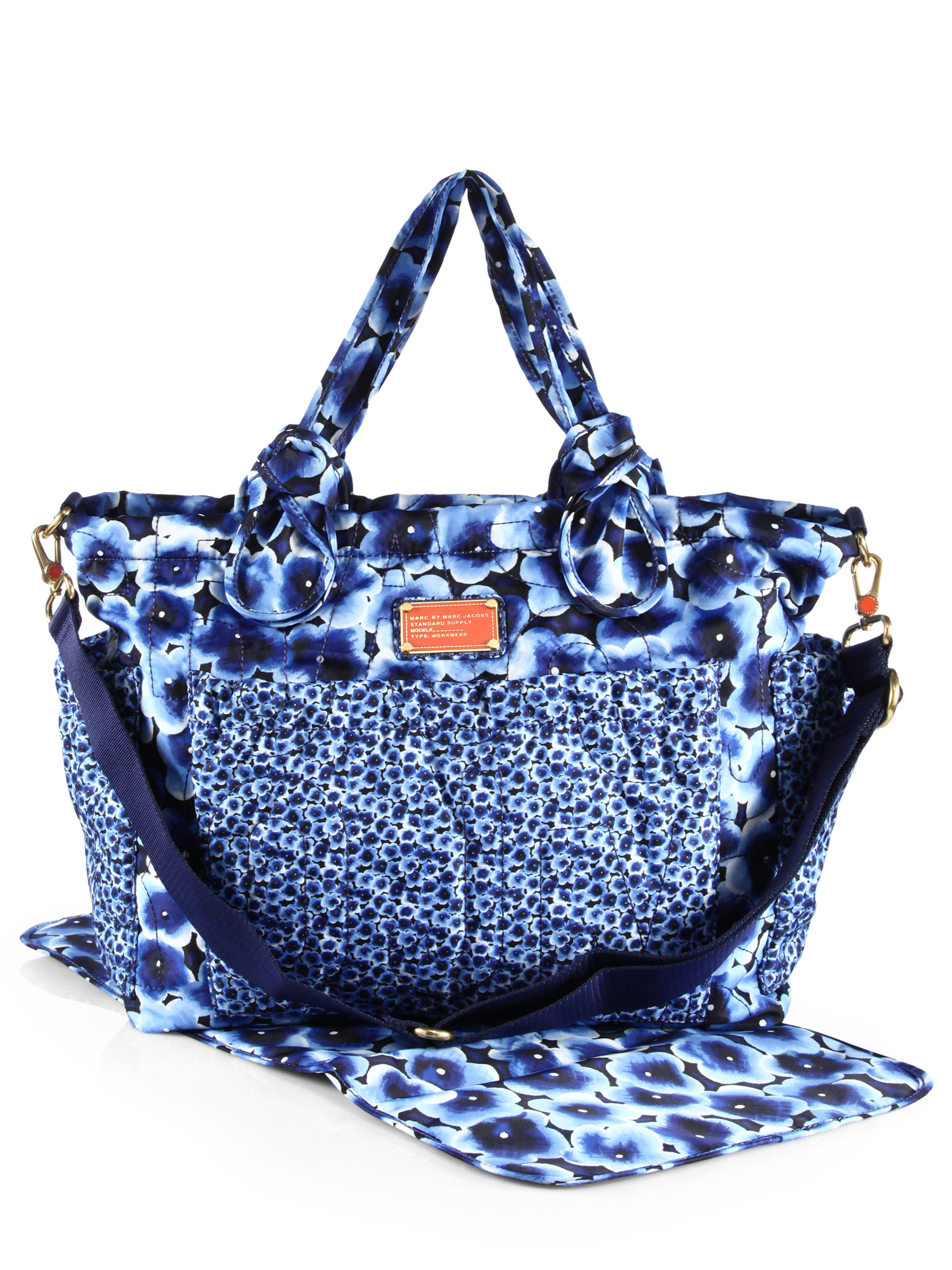 marc by marc jacobs pretty nylon elizababy nylon diaper bag in blue lyst. Black Bedroom Furniture Sets. Home Design Ideas
