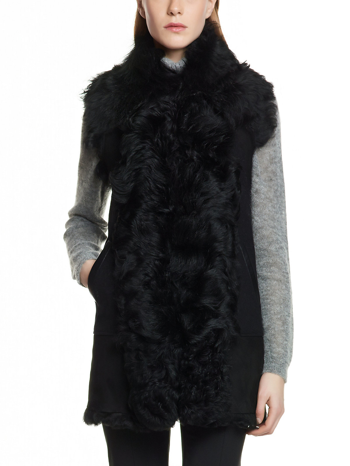 patrizia pepe sheepskin gilet combined with padded cashmere wool baize inserts in black nero. Black Bedroom Furniture Sets. Home Design Ideas