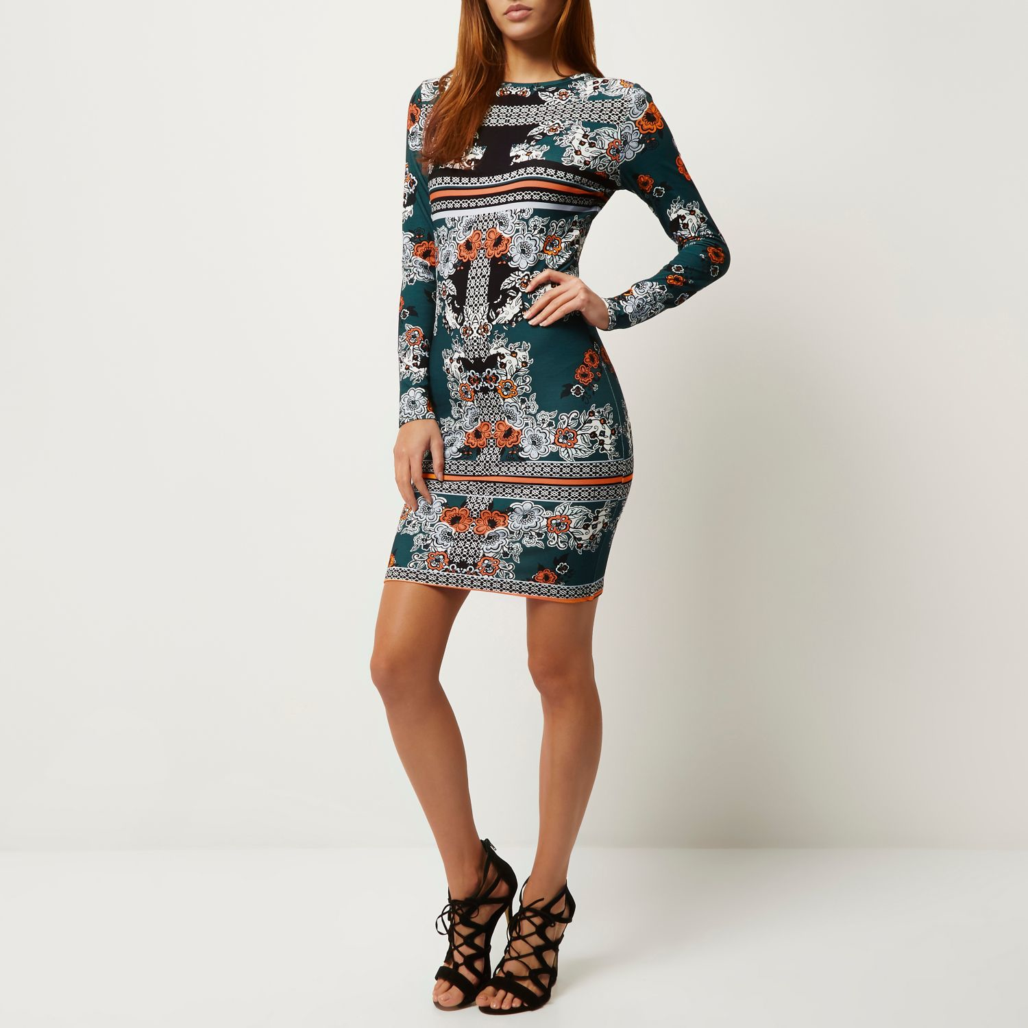 River Island Synthetic Green Floral Print Bodycon Dress Lyst