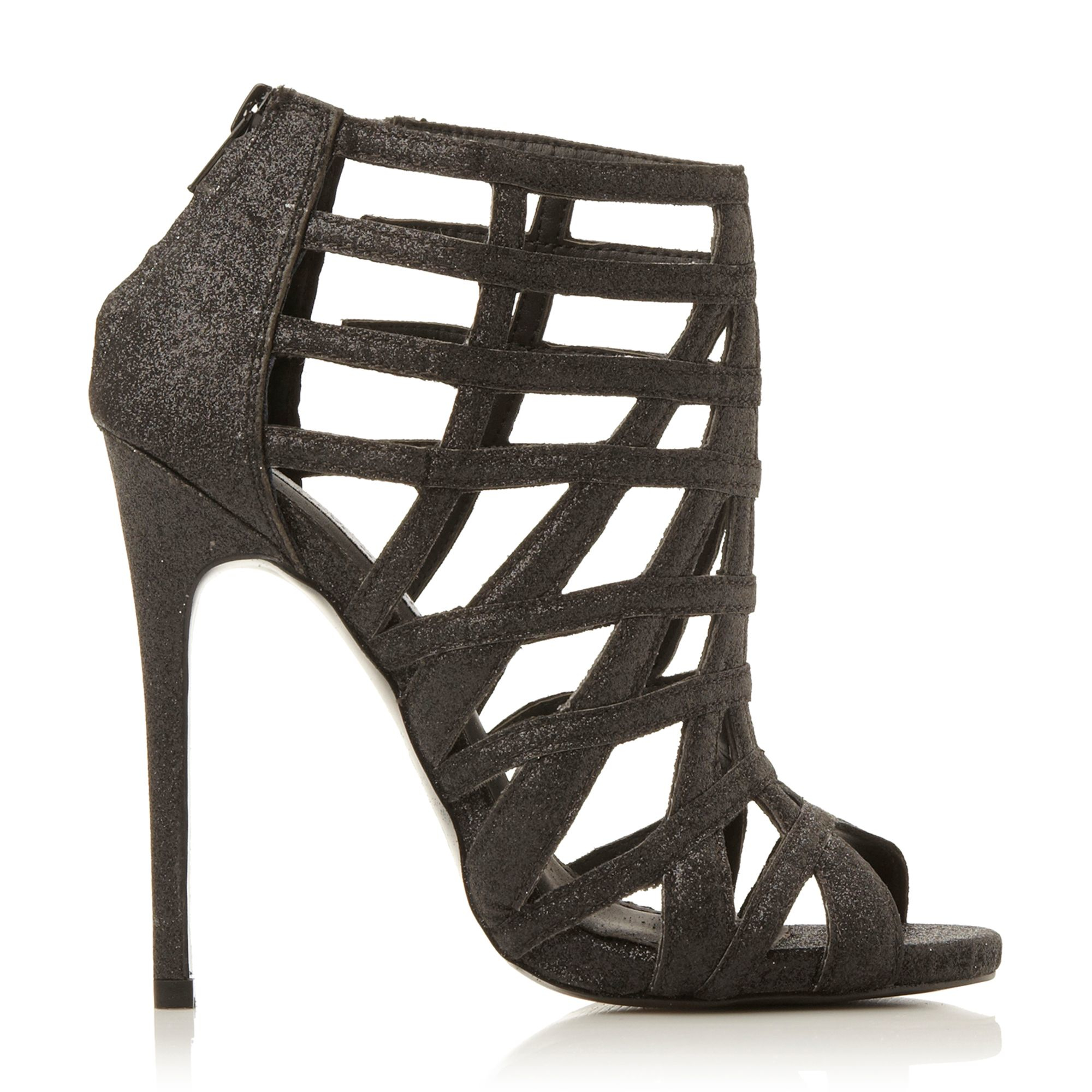 steve madden marquee caged heel sandals in black lyst. Black Bedroom Furniture Sets. Home Design Ideas